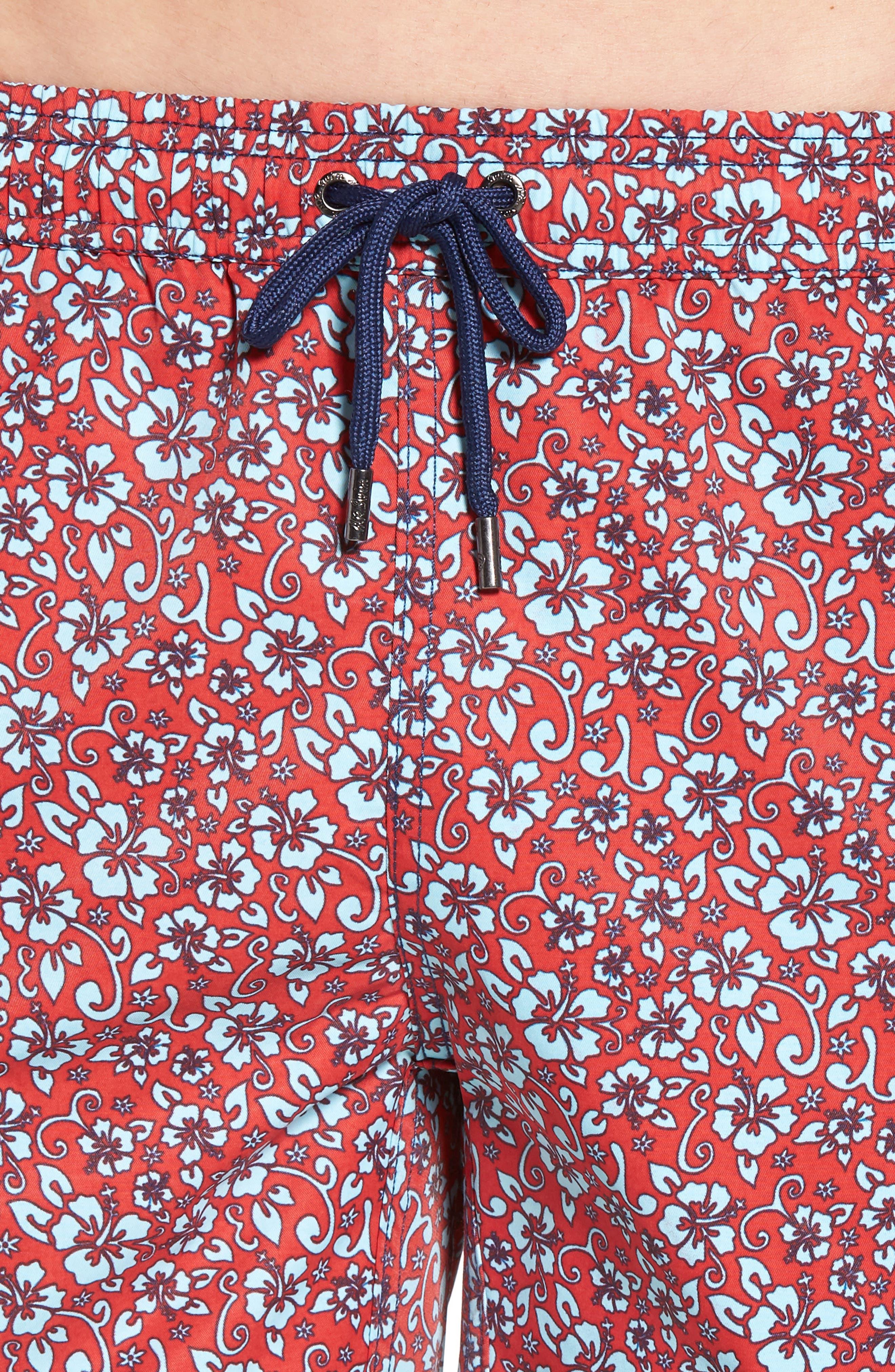 Mr. Swim Trim Fit Floral Swim Trunks,                             Alternate thumbnail 4, color,                             Red