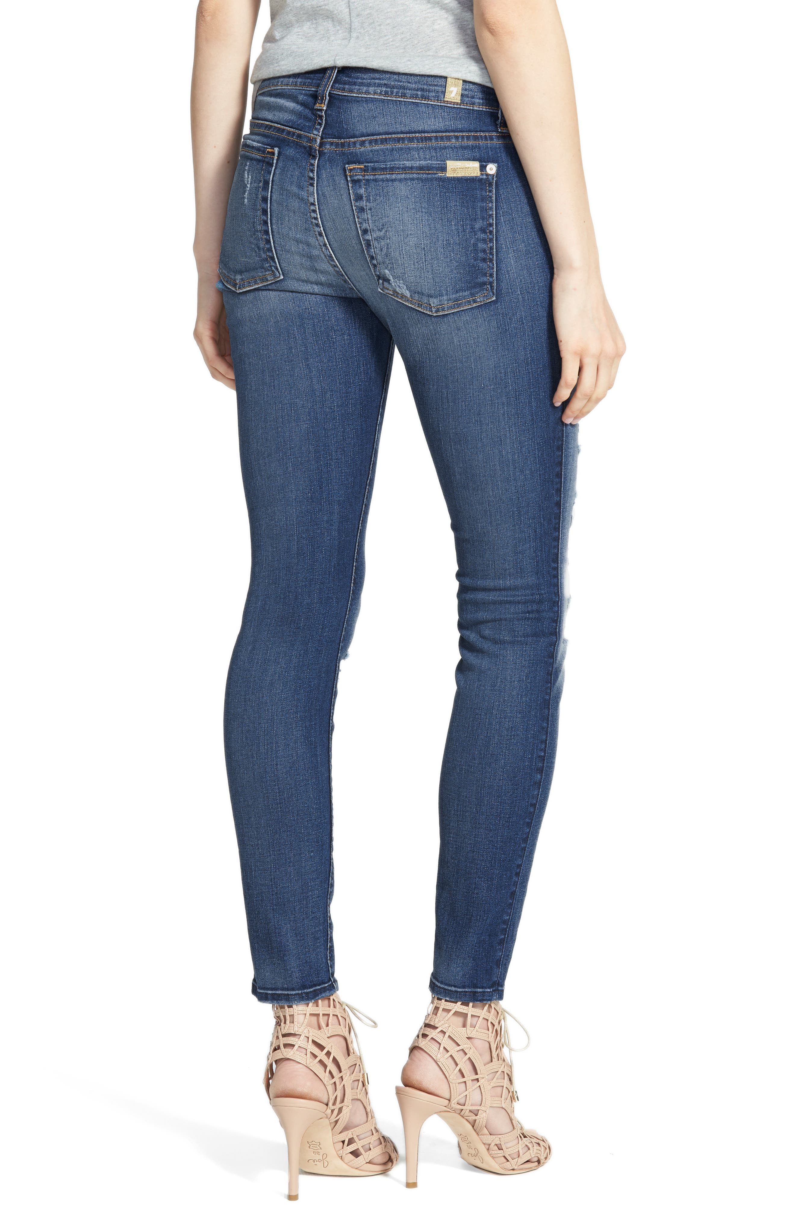 Ankle Skinny Jeans,                             Alternate thumbnail 2, color,                             Distressed Authentic Light