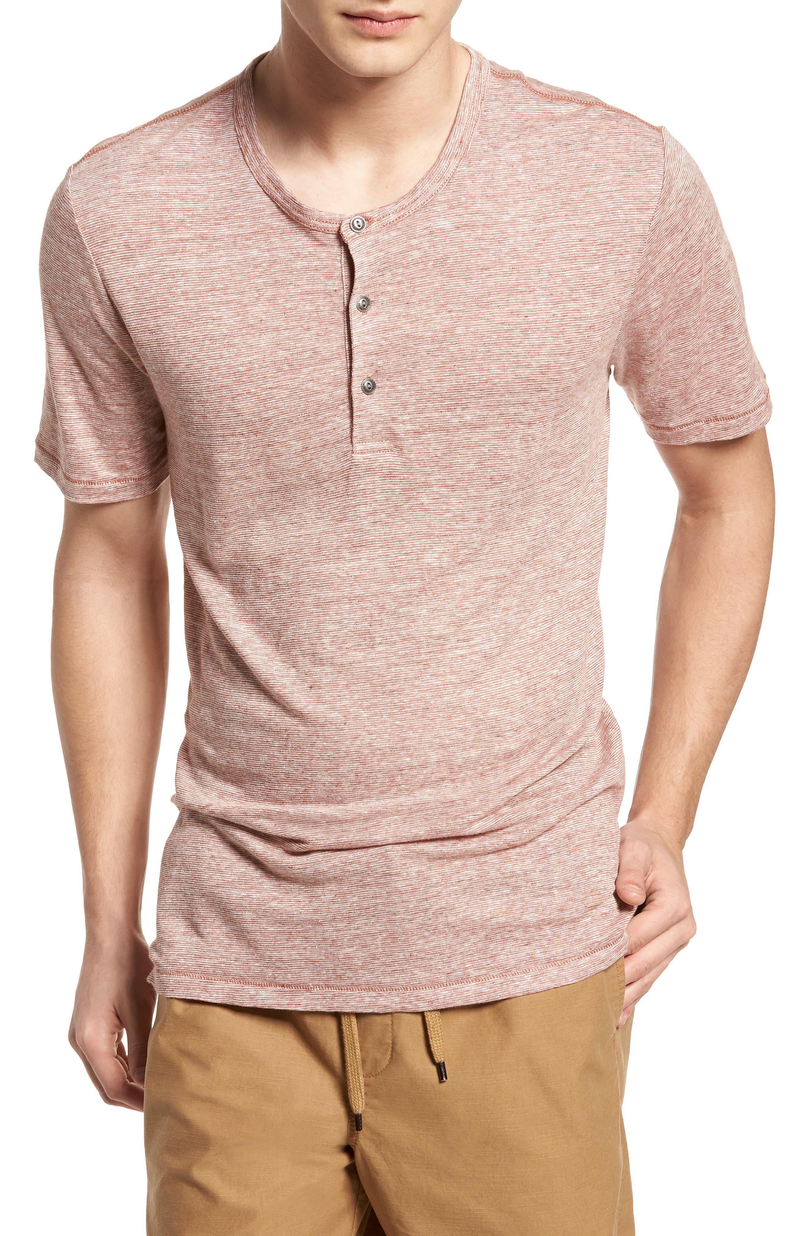 Short Sleeve Linen Henley,                         Main,                         color, Tan Adobe Stripe