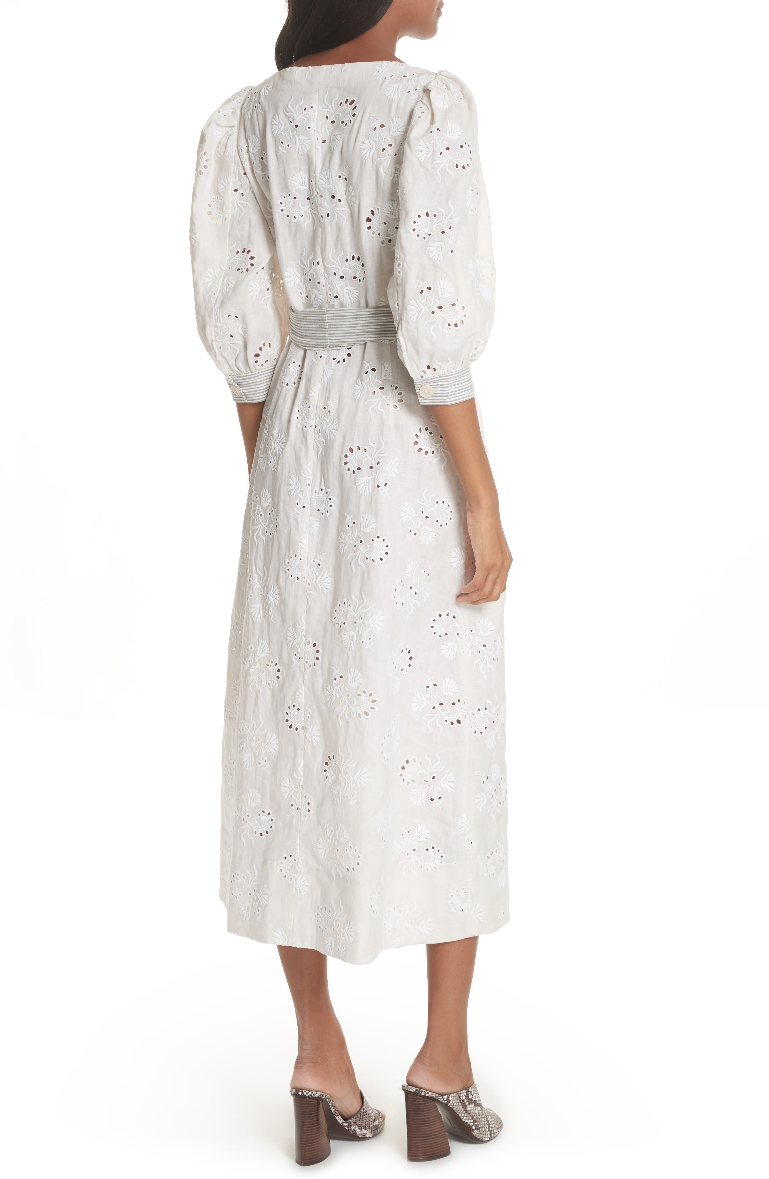 Garden Eyelet Midi Dress,                             Alternate thumbnail 2, color,                             Vanilla/ Milk