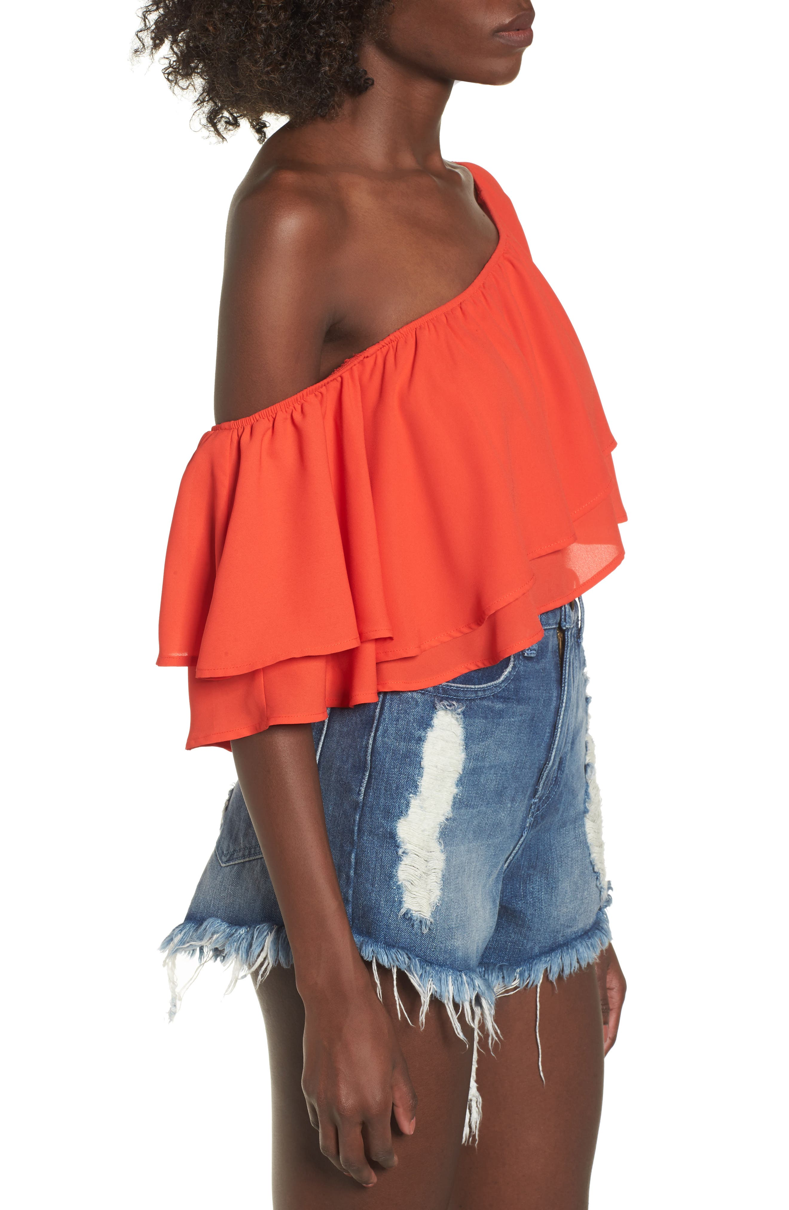 Hayworth Asymmetrical Ruffle Crop Top,                             Alternate thumbnail 3, color,                             Tequila Sunrise