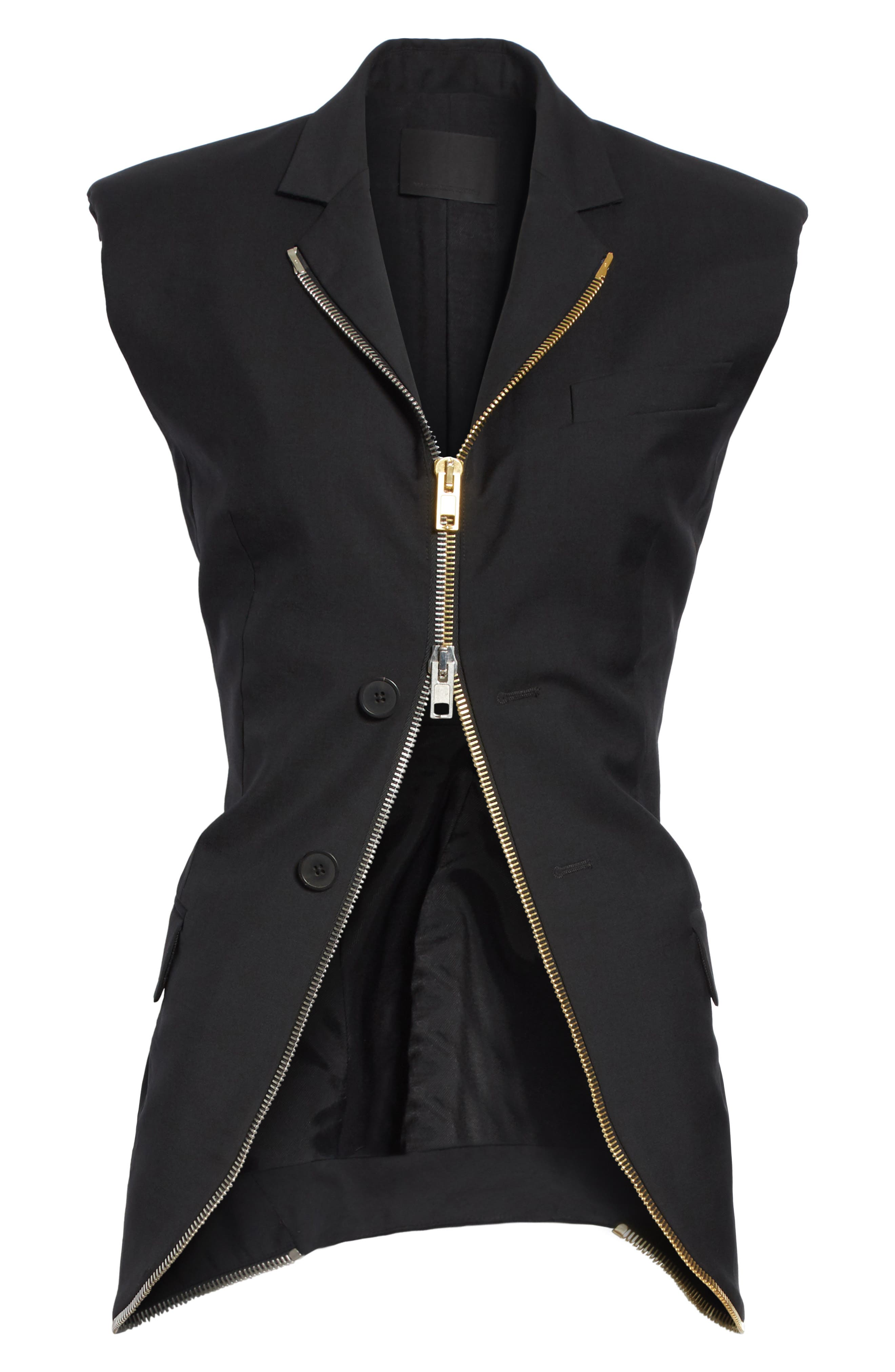 Zip Detail Vest,                             Alternate thumbnail 6, color,                             Black
