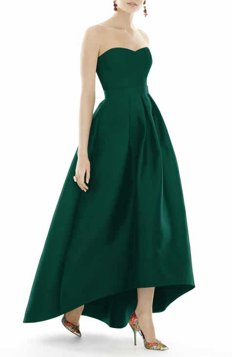 Alfred Sung Strapless High Low Sa Twill Gown