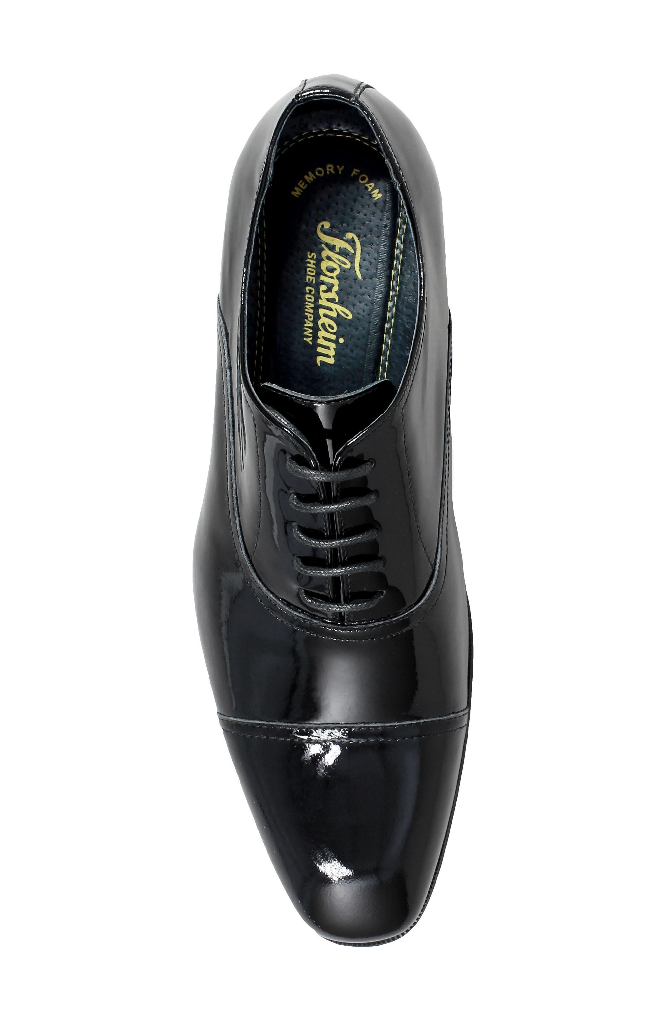 Tux Cap Toe Oxford,                             Alternate thumbnail 5, color,                             Black Patent Leather