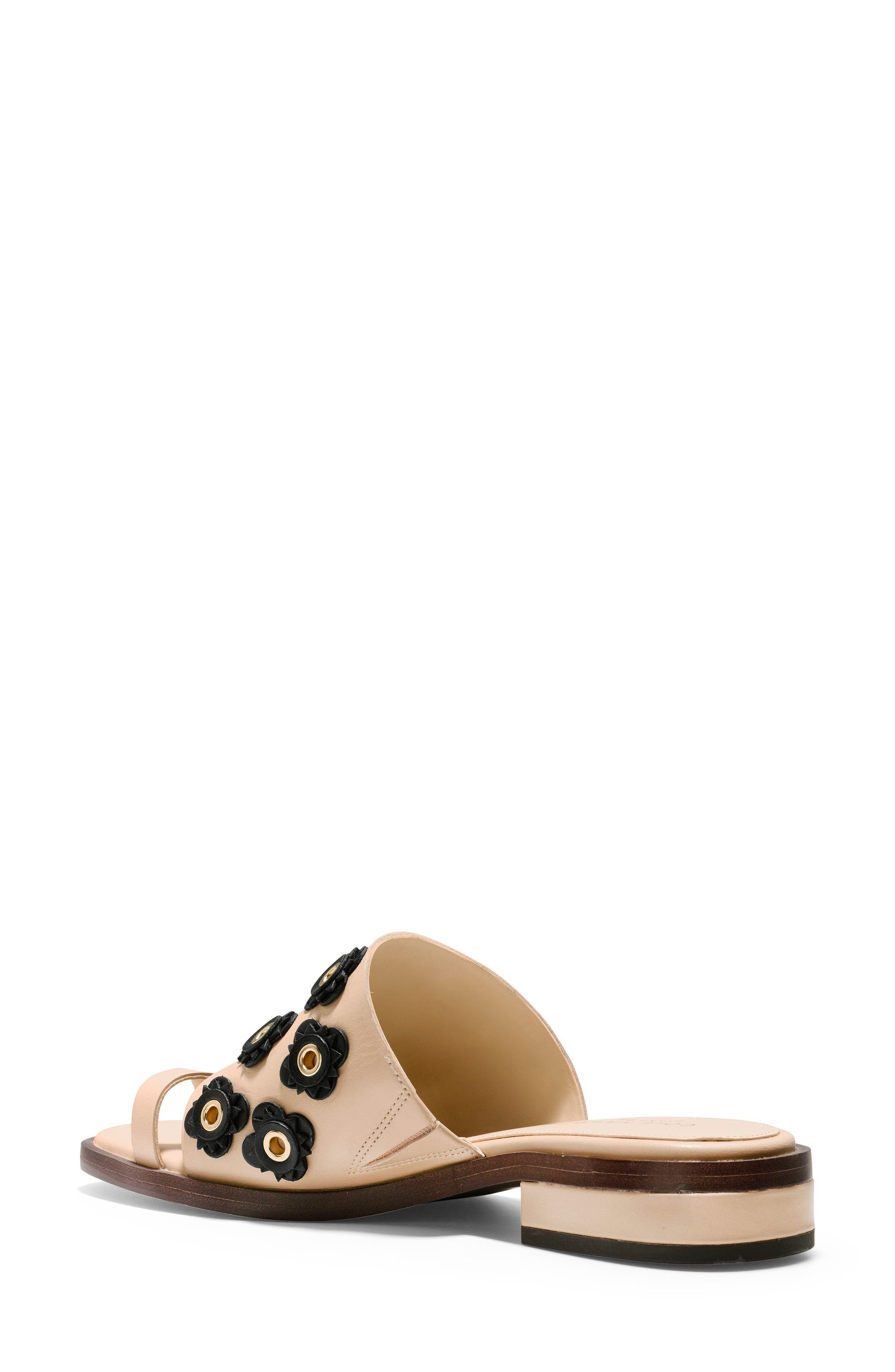 Carly Floral Sandal,                             Alternate thumbnail 2, color,                             Nude/ Black Leather