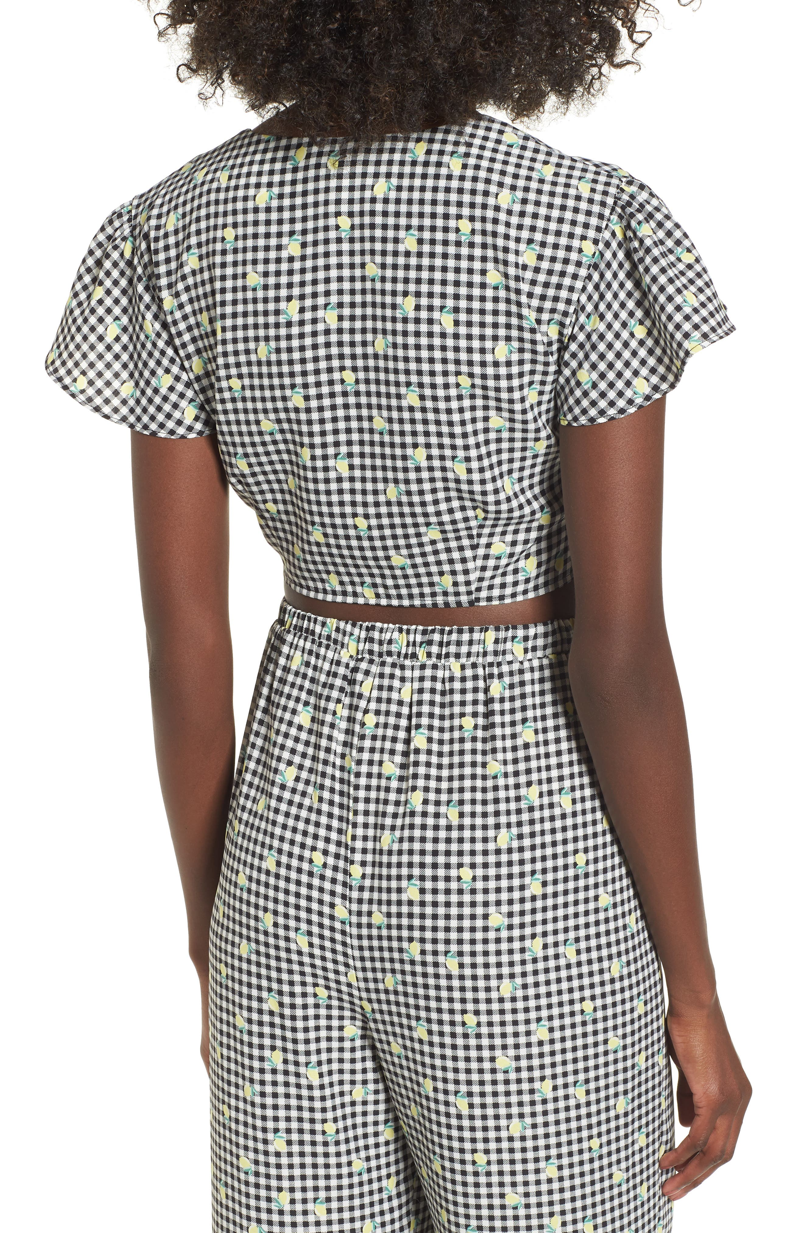 Gingham Tie Front Crop Top,                             Alternate thumbnail 3, color,                             Gingham Lemon Print