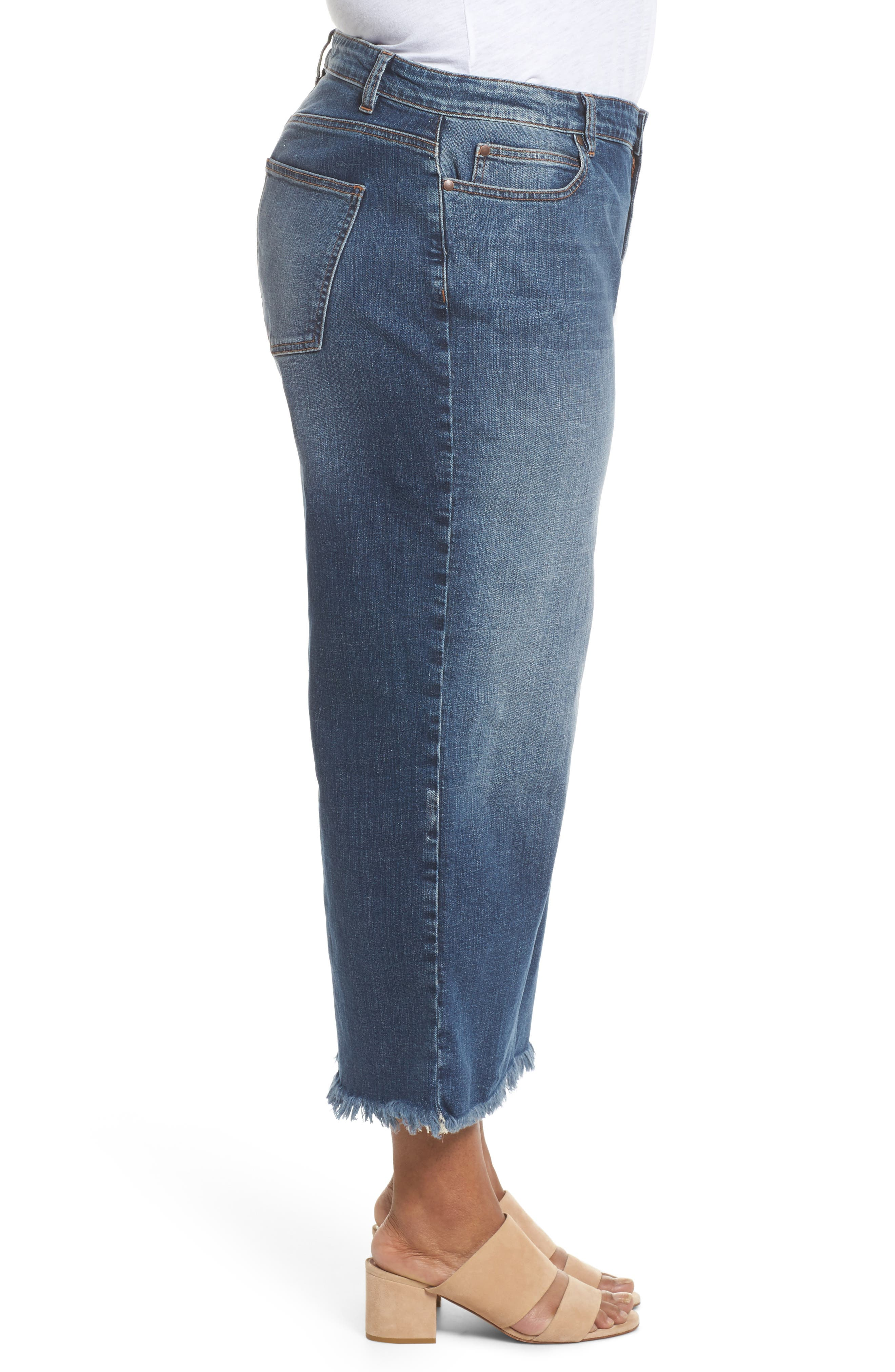 Wide Leg Ankle Jeans,                             Alternate thumbnail 3, color,                             Aged Indigo
