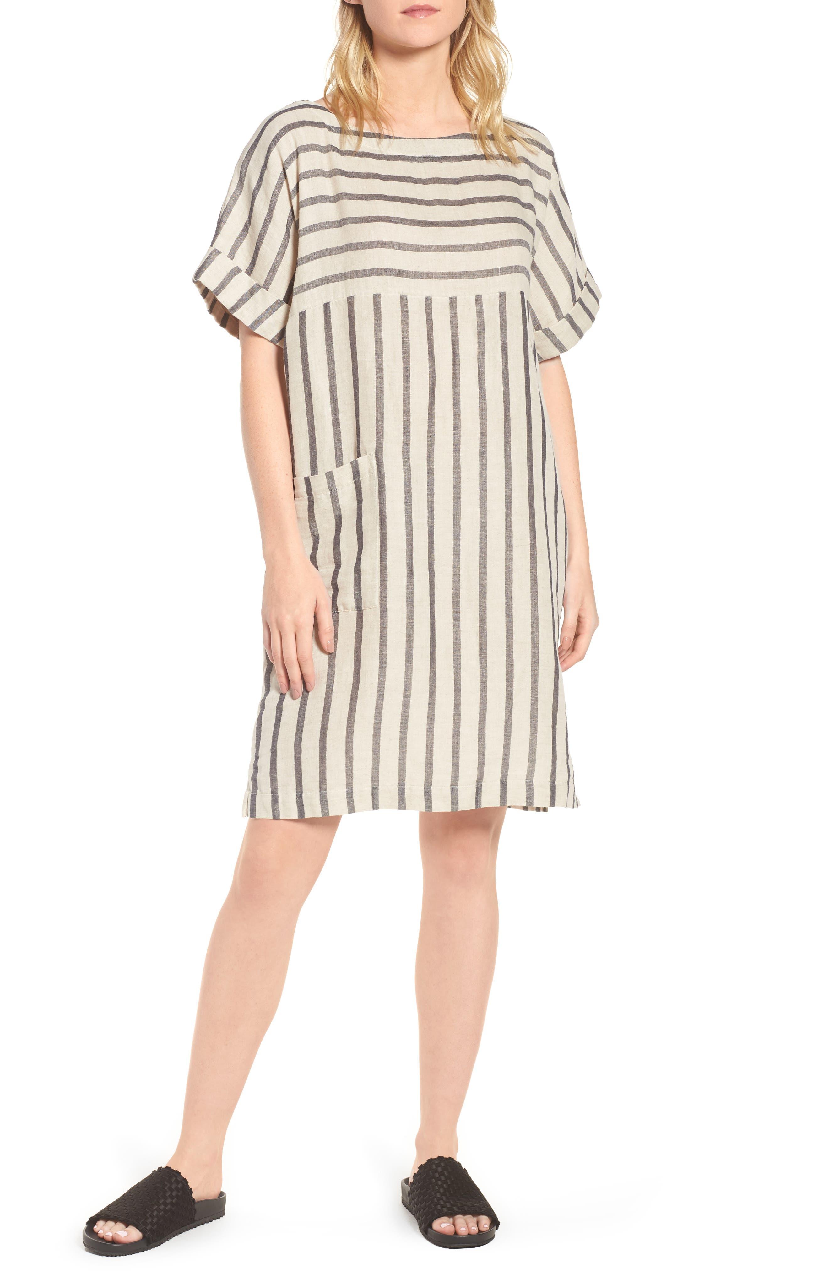 Stripe Linen & Cotton Shift Dress,                         Main,                         color, Natural