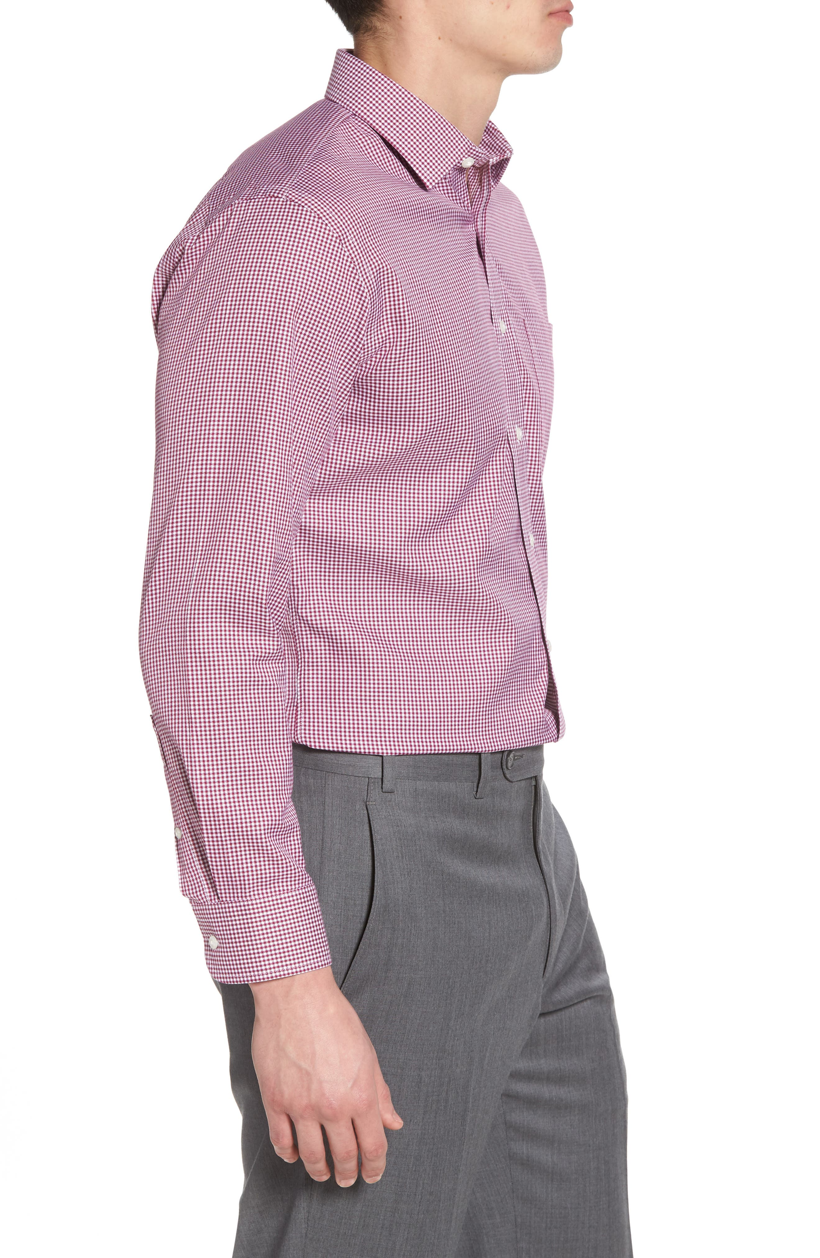 Smartcare<sup>™</sup> Trim Fit Mini Check Dress Shirt,                             Alternate thumbnail 4, color,                             Purple Boysen