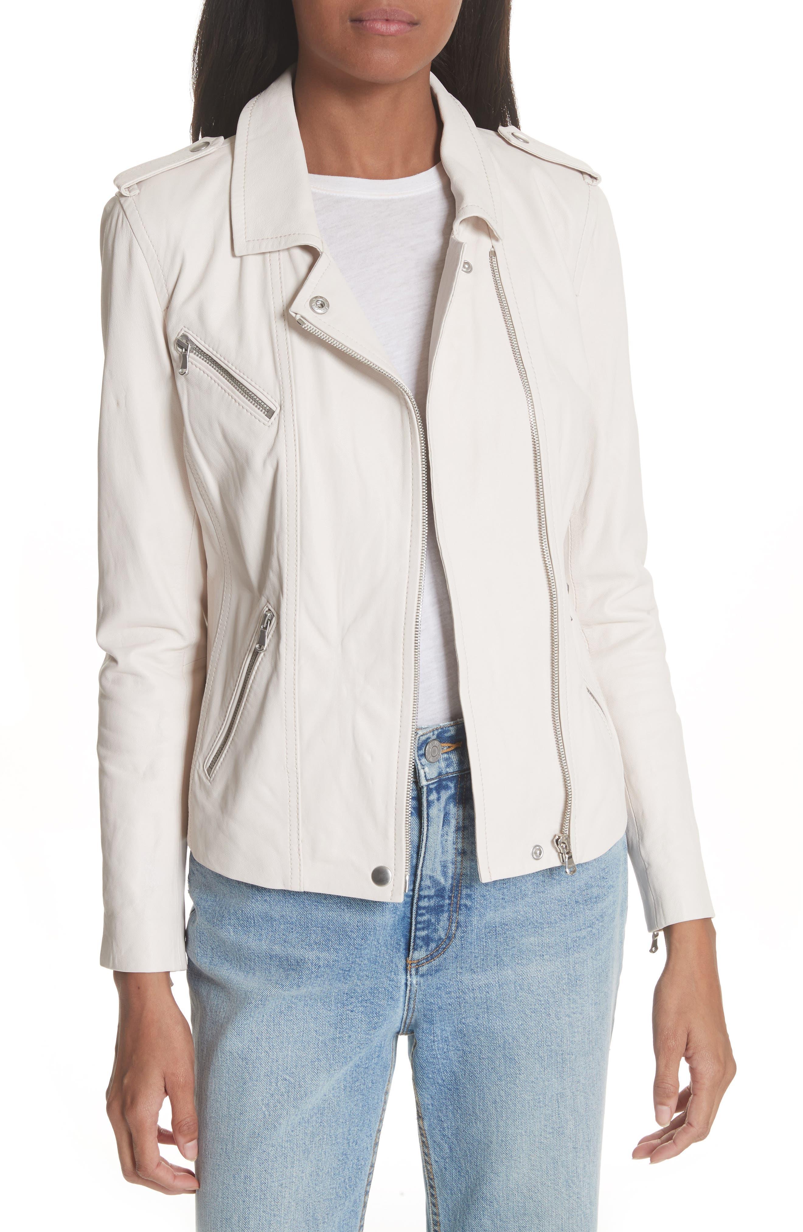 Washed Leather Moto Jacket,                         Main,                         color, Vanilla