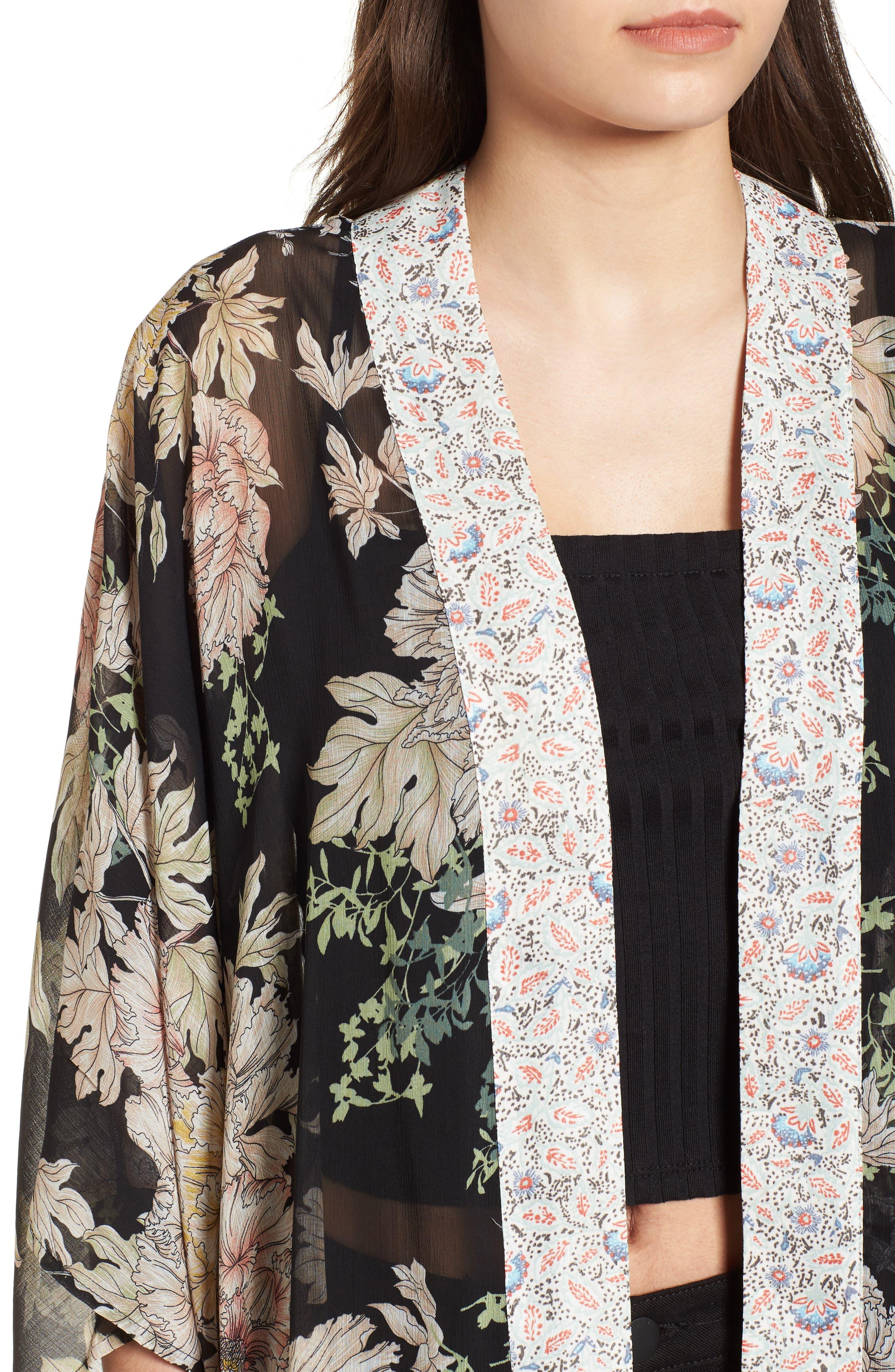 Floral Print Kimono,                             Alternate thumbnail 4, color,                             Black Gold Pink
