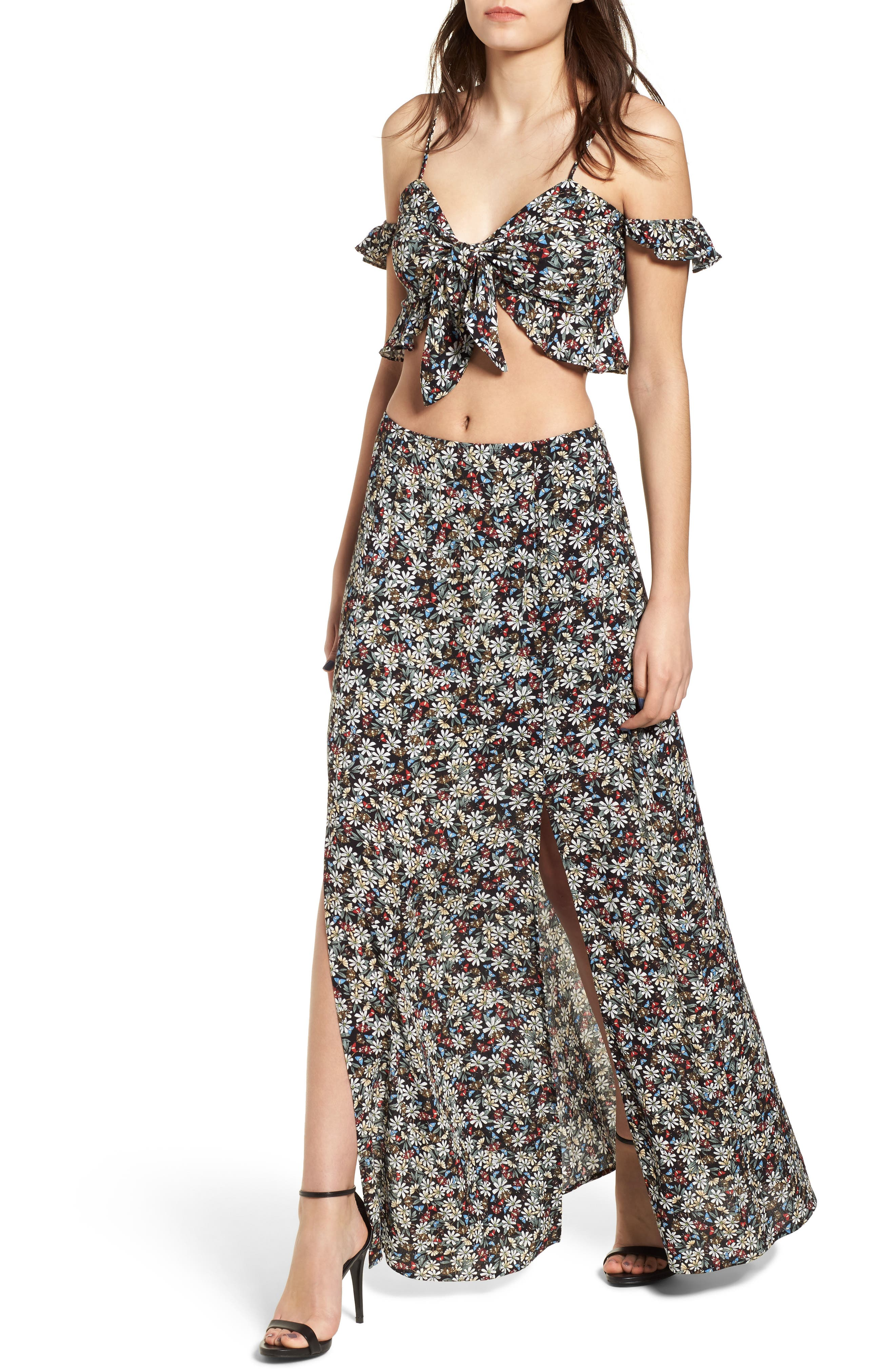 Flora Slit Front Maxi Skirt,                             Alternate thumbnail 2, color,                             Multi Black