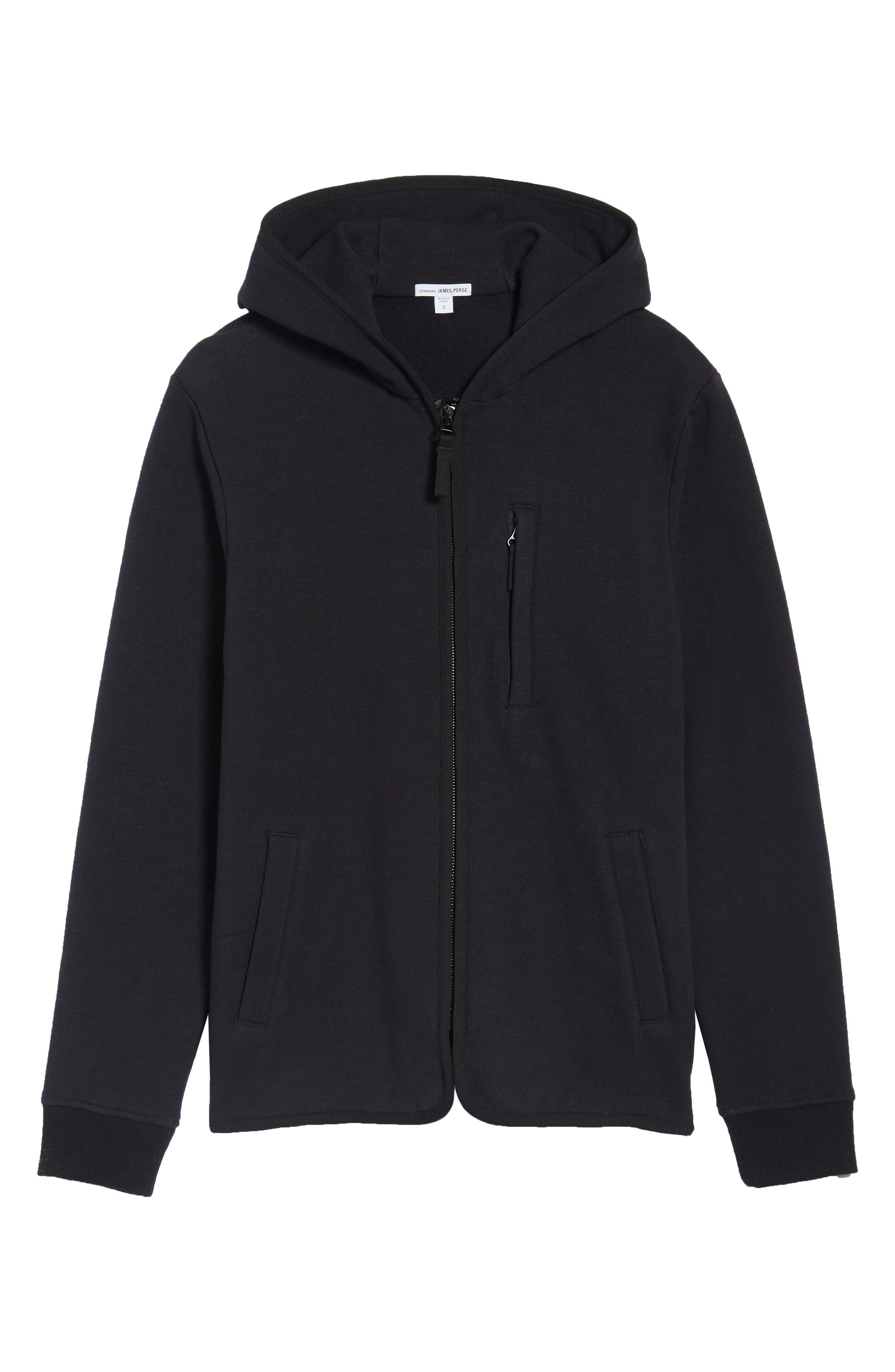 Cotton & Wool Zip Hoodie,                             Alternate thumbnail 6, color,                             Black Black