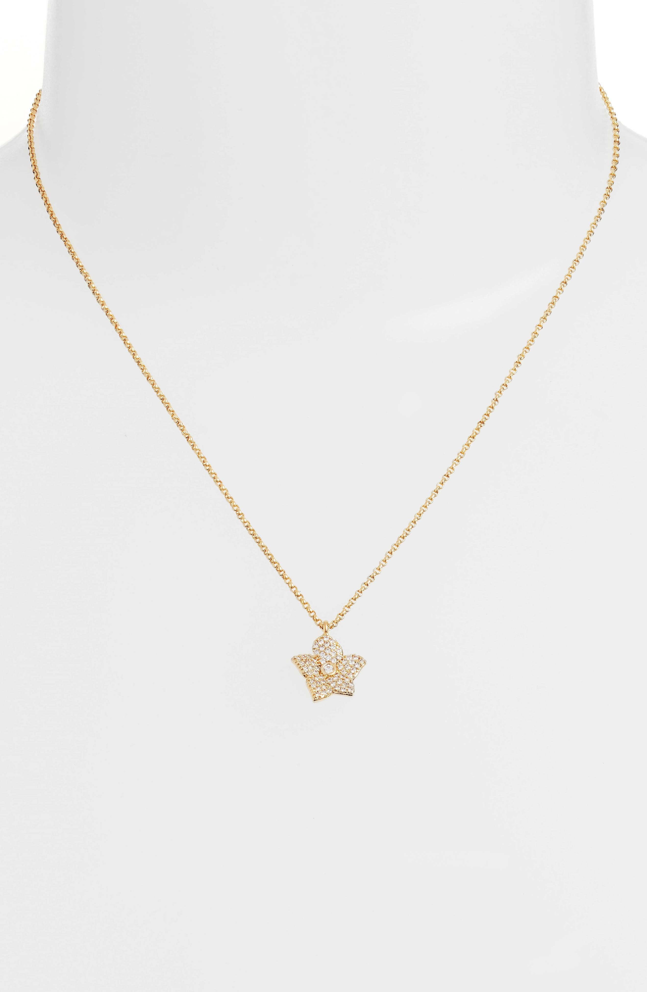 blooming pavé mini pendant necklace,                             Alternate thumbnail 2, color,                             Gold