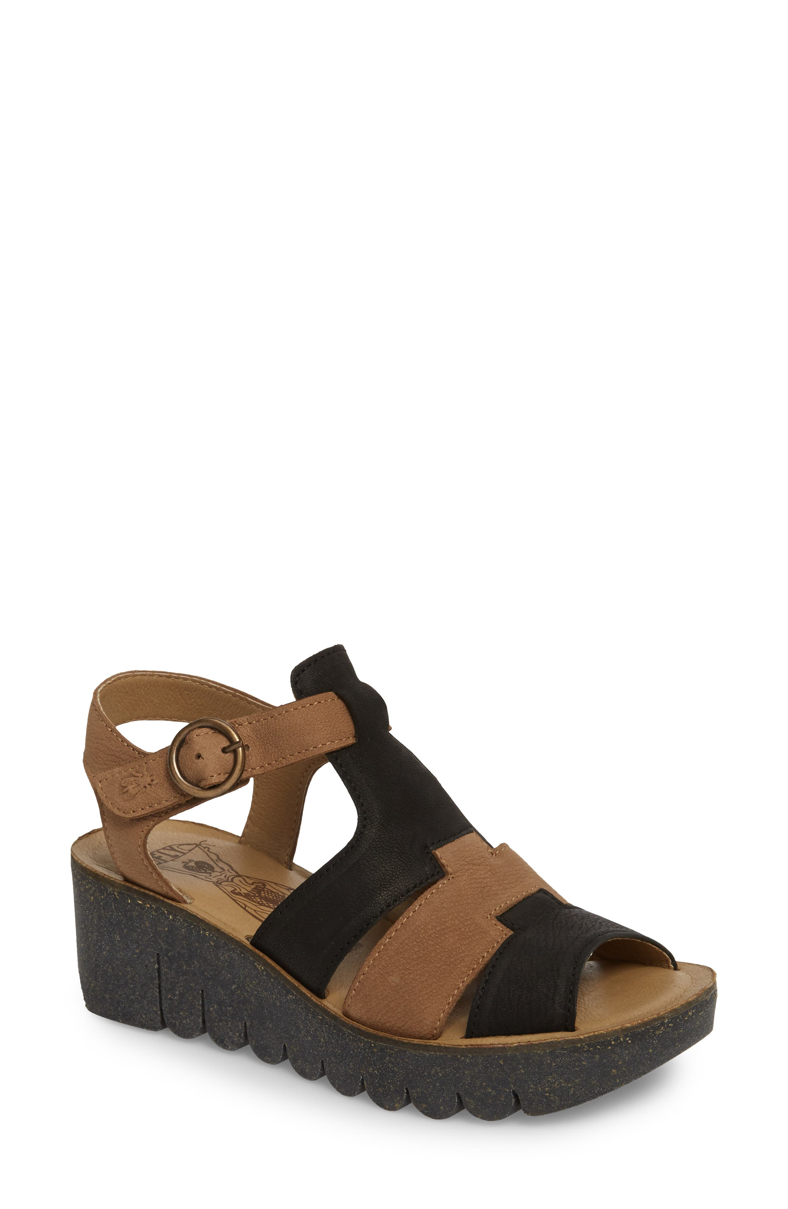 Yuni Wedge Sandal,                             Main thumbnail 1, color,                             Black/ Sand Cupido Leather