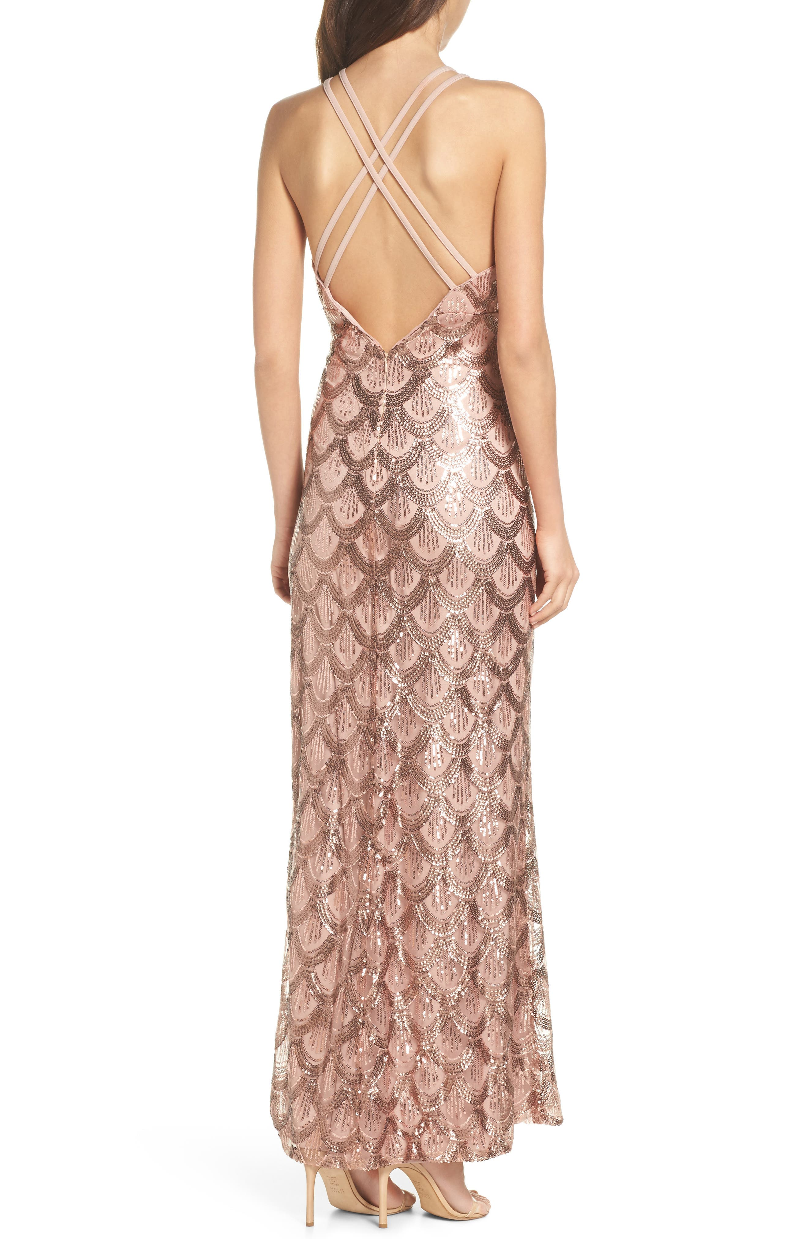 Strappy Back Sequin Gown,                             Alternate thumbnail 2, color,                             Rose Gold