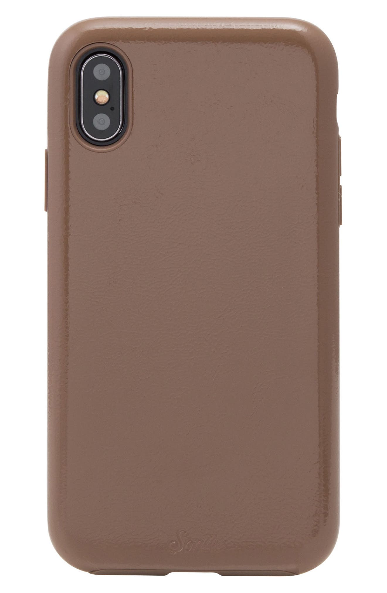 Tan Patent Faux Leather iPhone X Case,                         Main,                         color, Tan