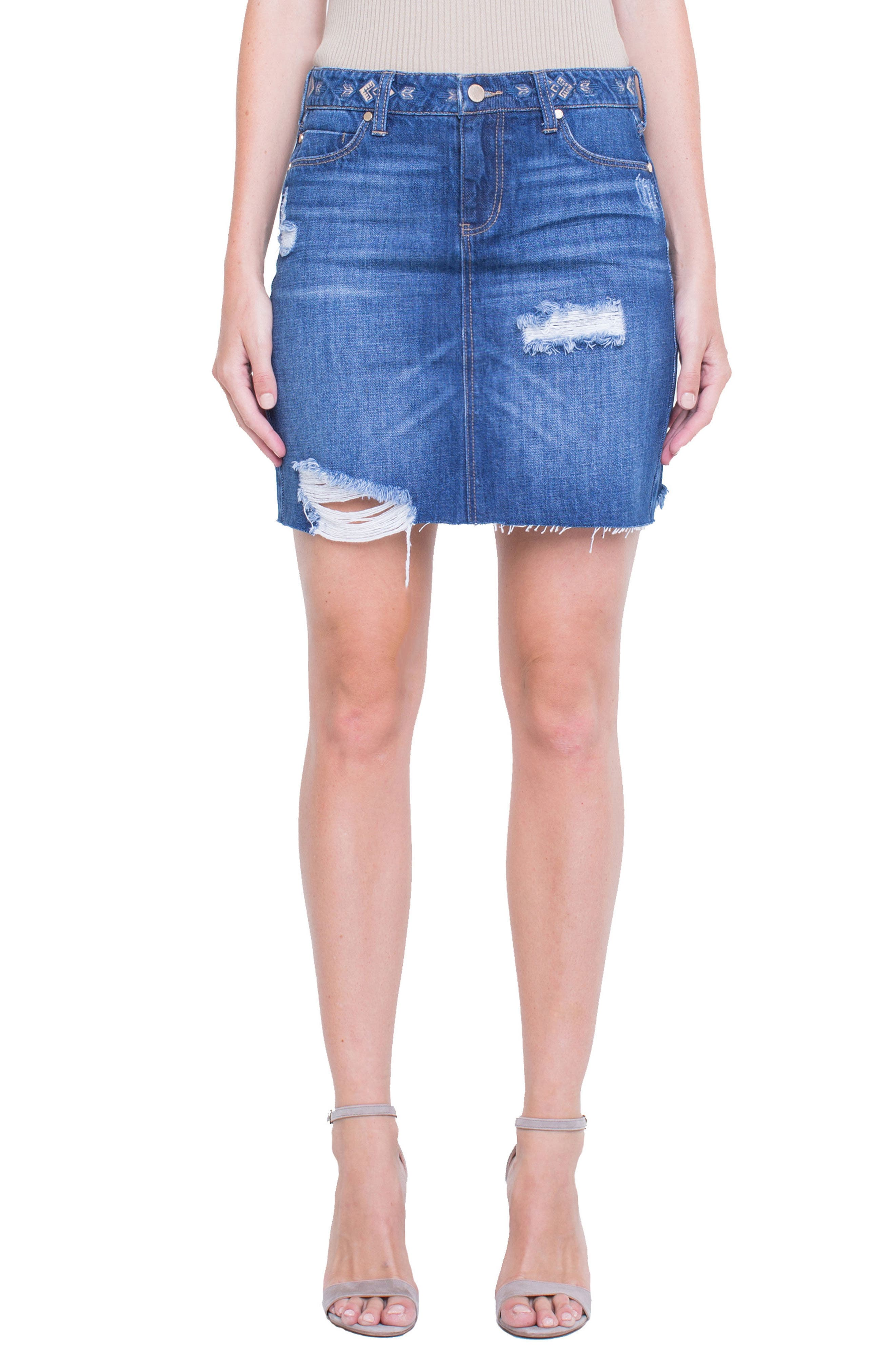 Liverpool Jeans Company Distressed Classic Miniskirt