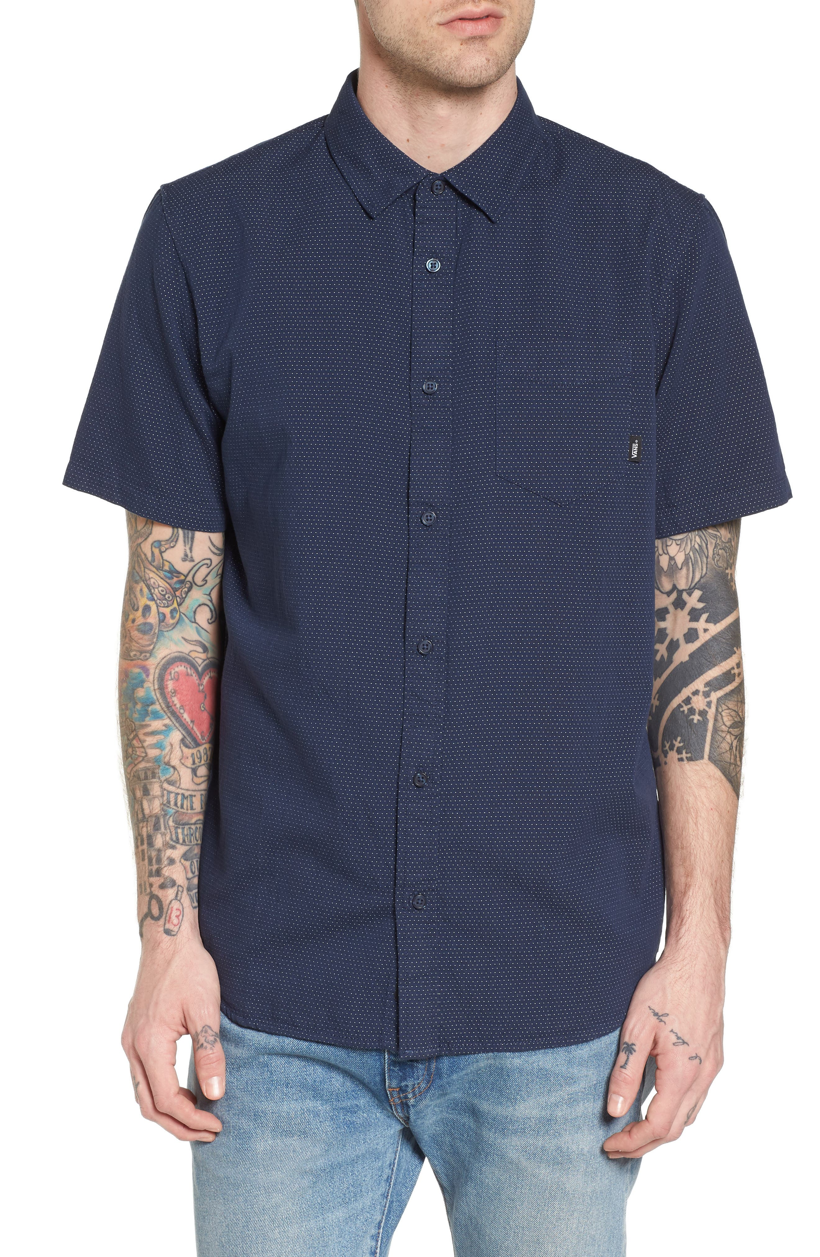 Giddings Short Sleeve Shirt,                         Main,                         color, Dress Blues