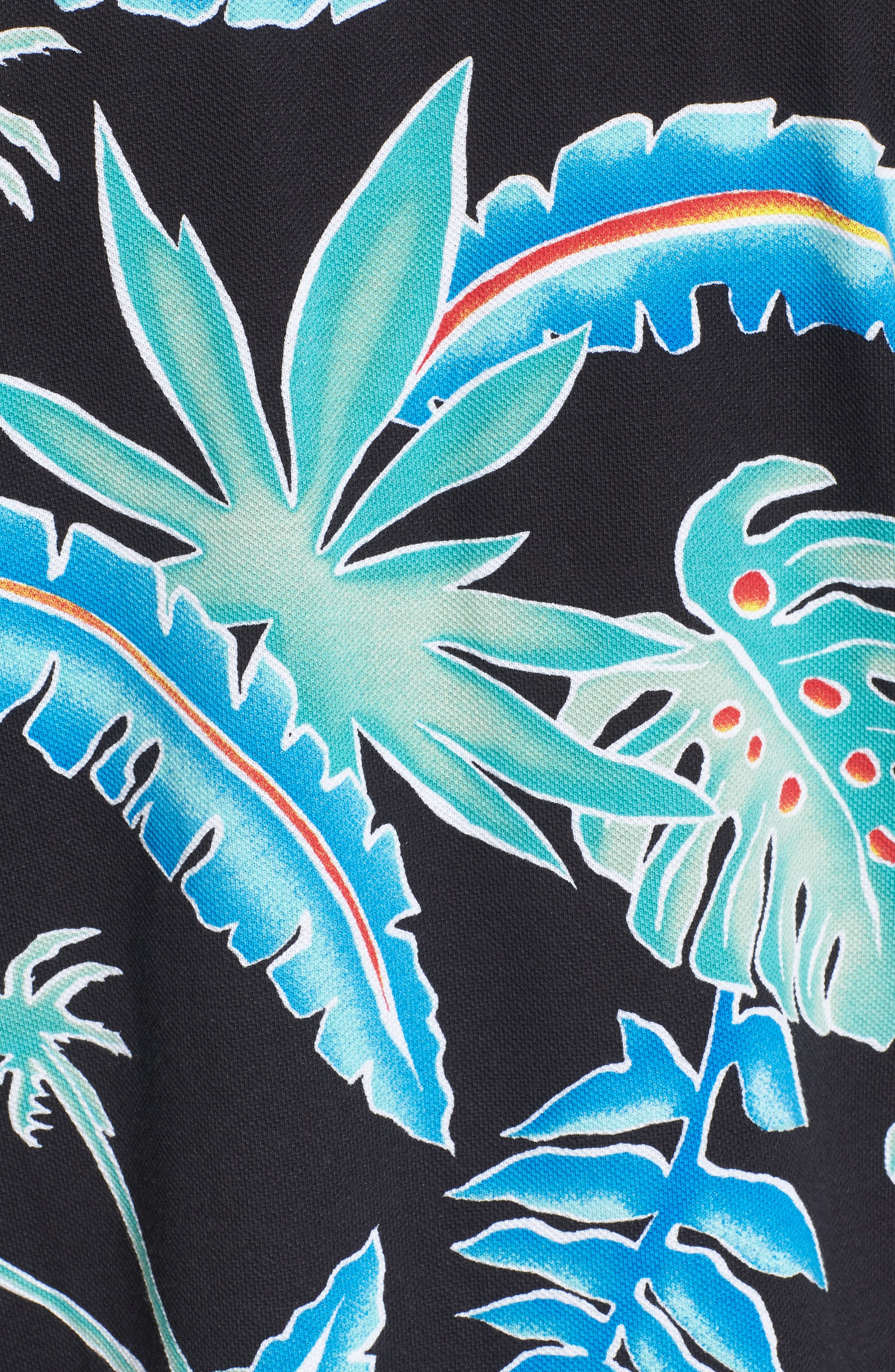 Pit Stop Polo,                             Alternate thumbnail 5, color,                             Black Pit Stop Floral