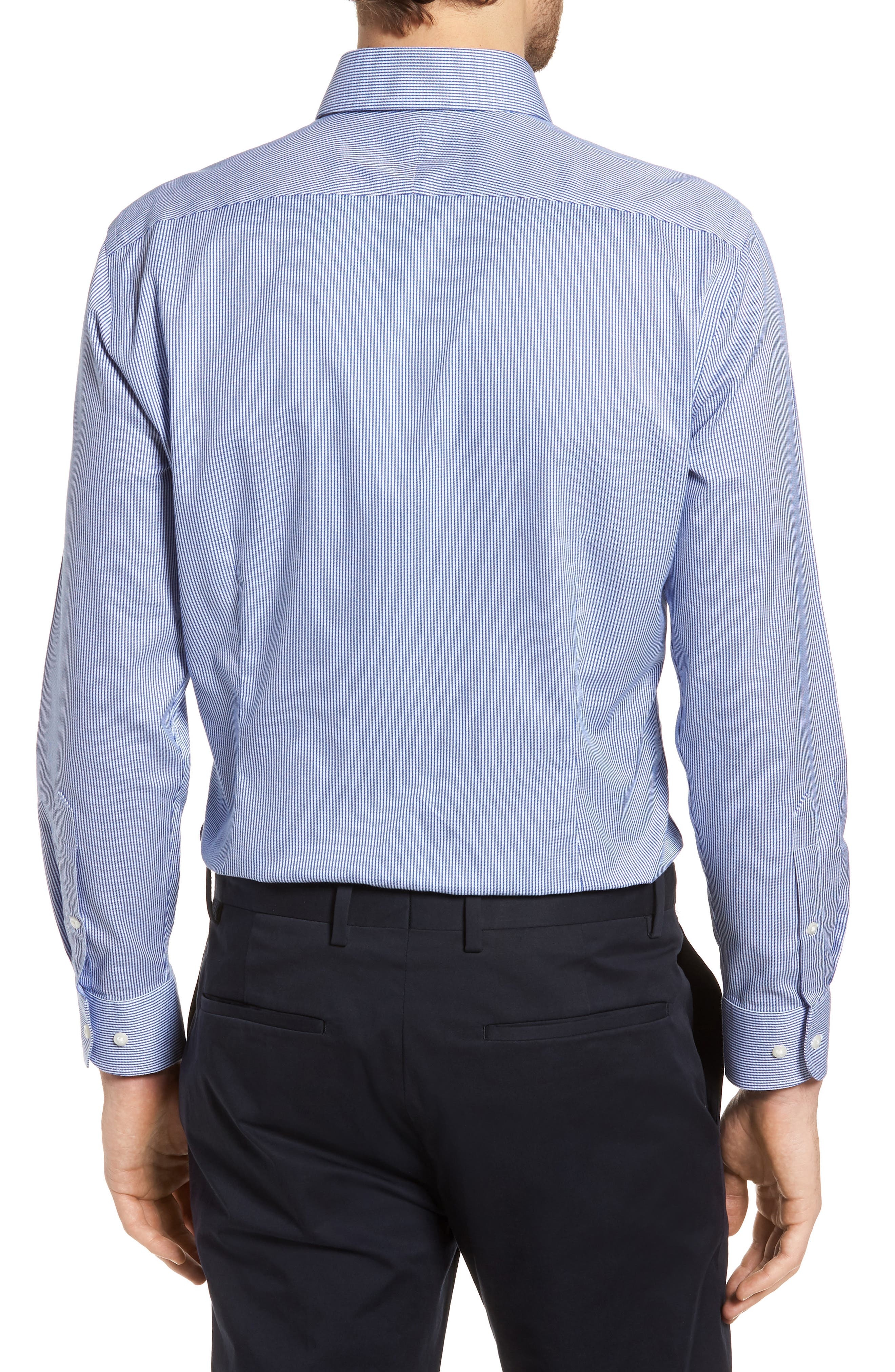 Smartcare<sup>™</sup> Extra Trim Fit Stripe Dress Shirt,                             Alternate thumbnail 3, color,                             Navy Print