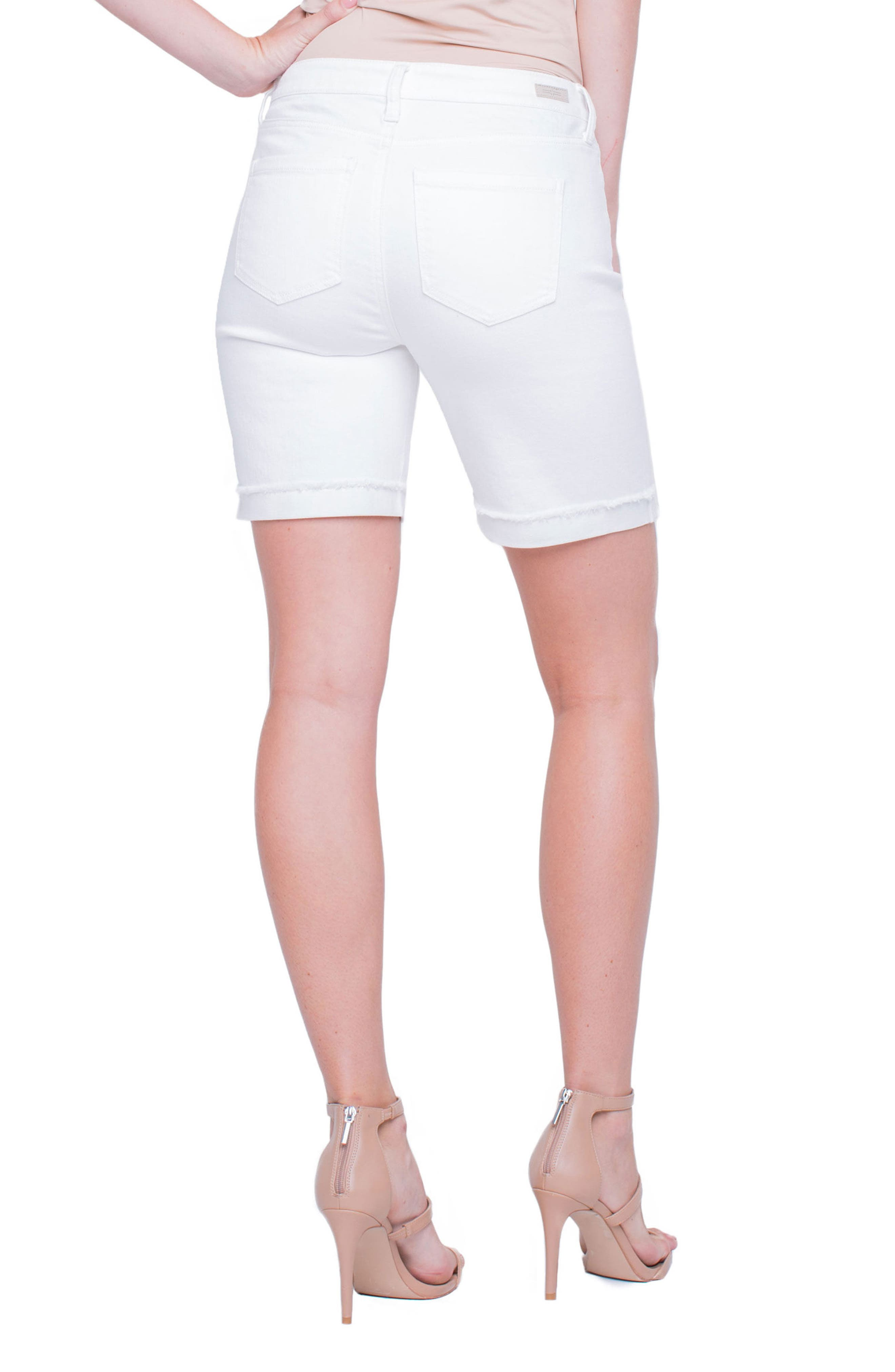 Casey White Denim Shorts,                             Alternate thumbnail 3, color,                             Bright White