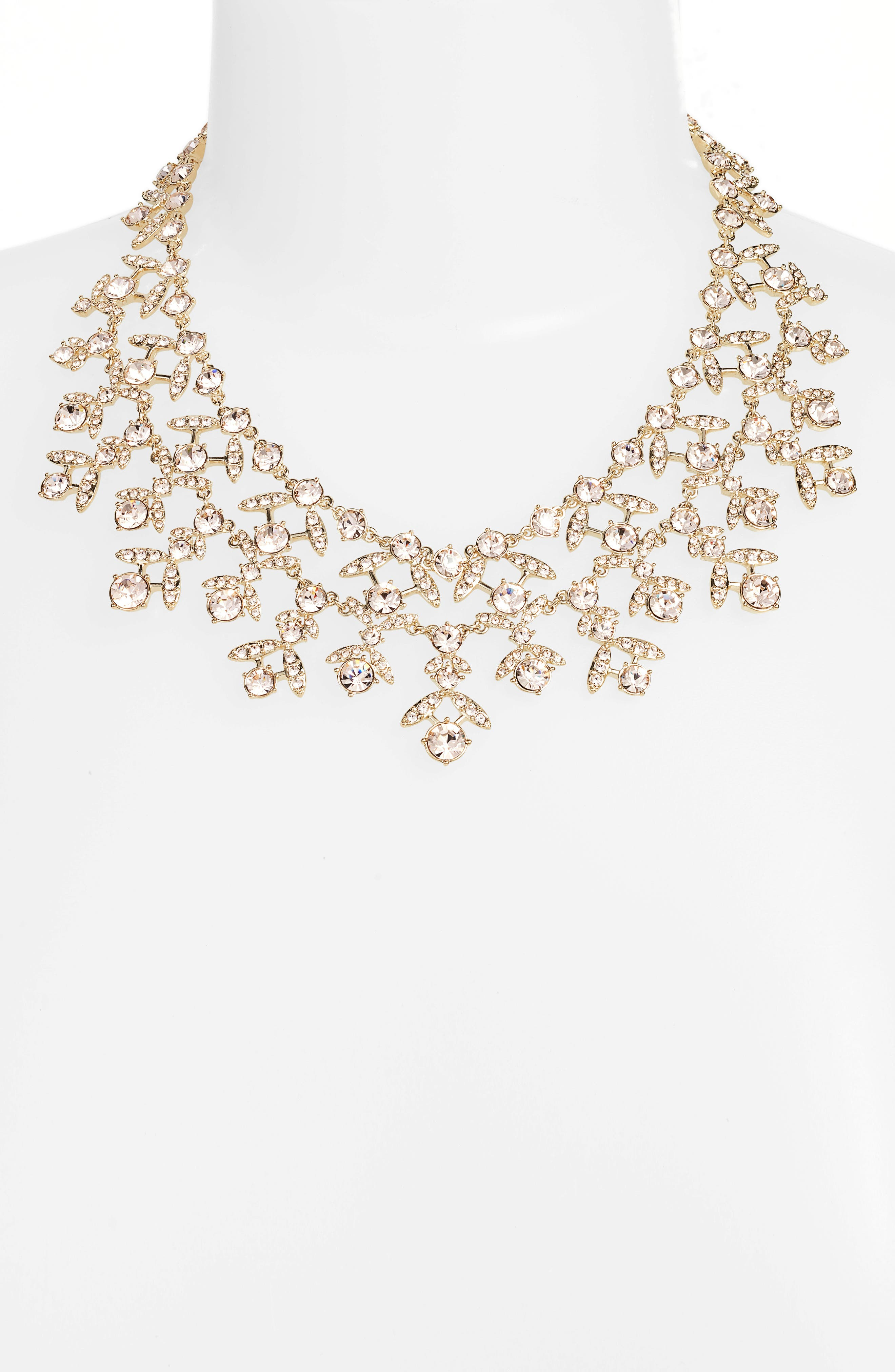 Crystal Collar Necklace,                             Alternate thumbnail 2, color,                             Gold/ Silk