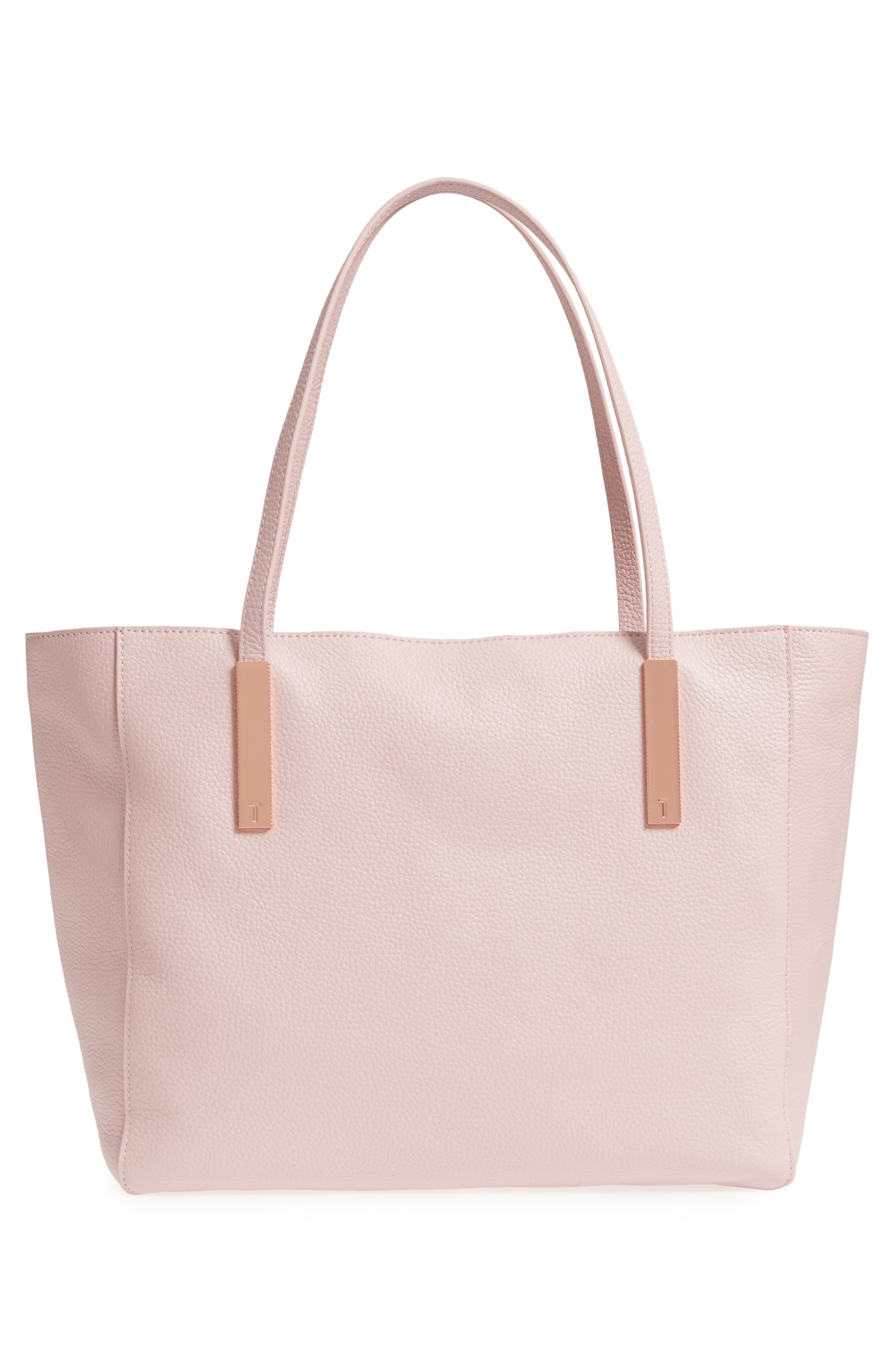 Soft Blossom Leather Shopper,                             Alternate thumbnail 3, color,                             Light Pink