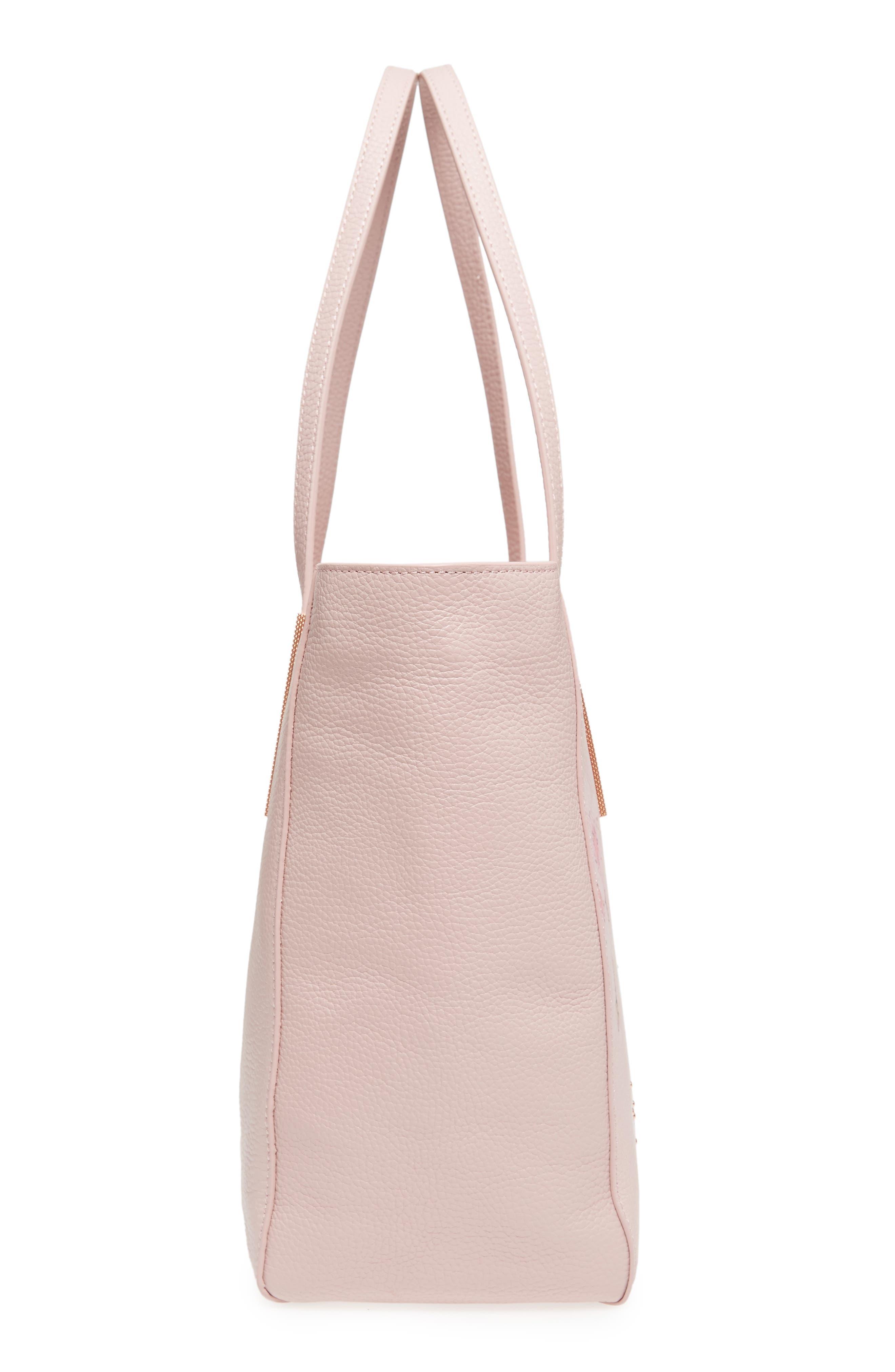 Soft Blossom Leather Shopper,                             Alternate thumbnail 5, color,                             Light Pink