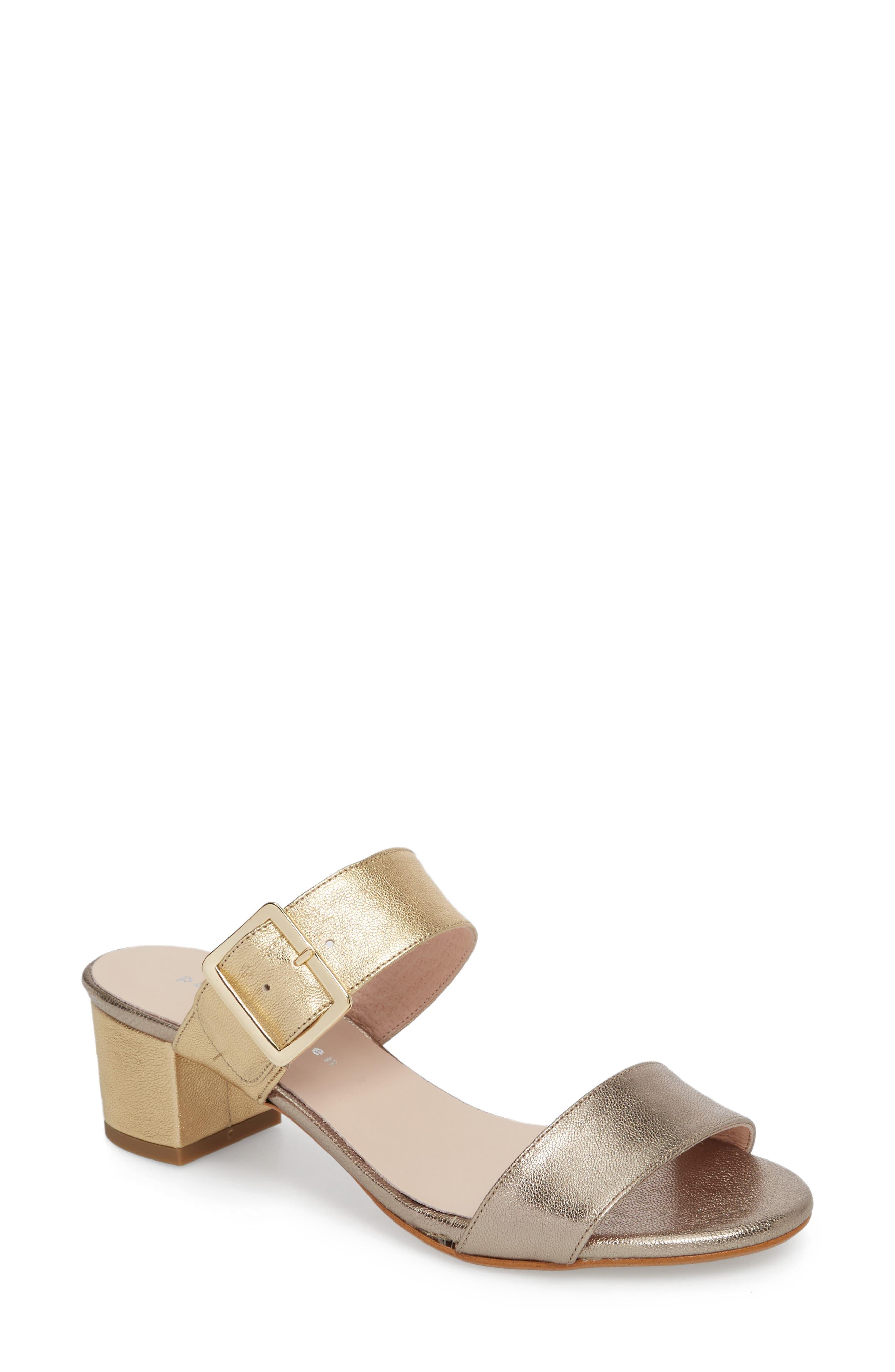 Ruth Slide Sandal,                             Main thumbnail 1, color,                             Gold/ Bronze Leather