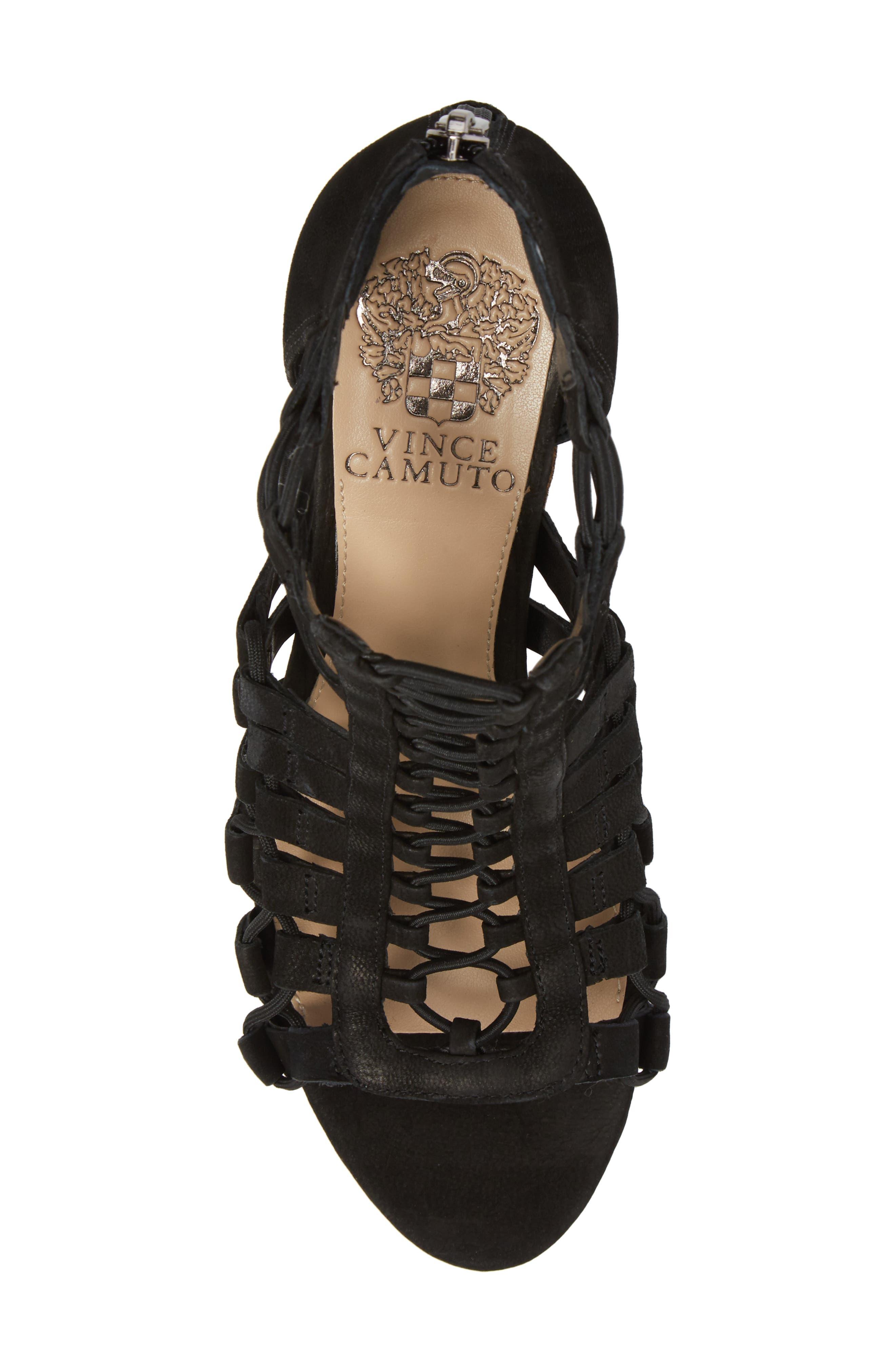 Elanso Sandal,                             Alternate thumbnail 5, color,                             Black Leather