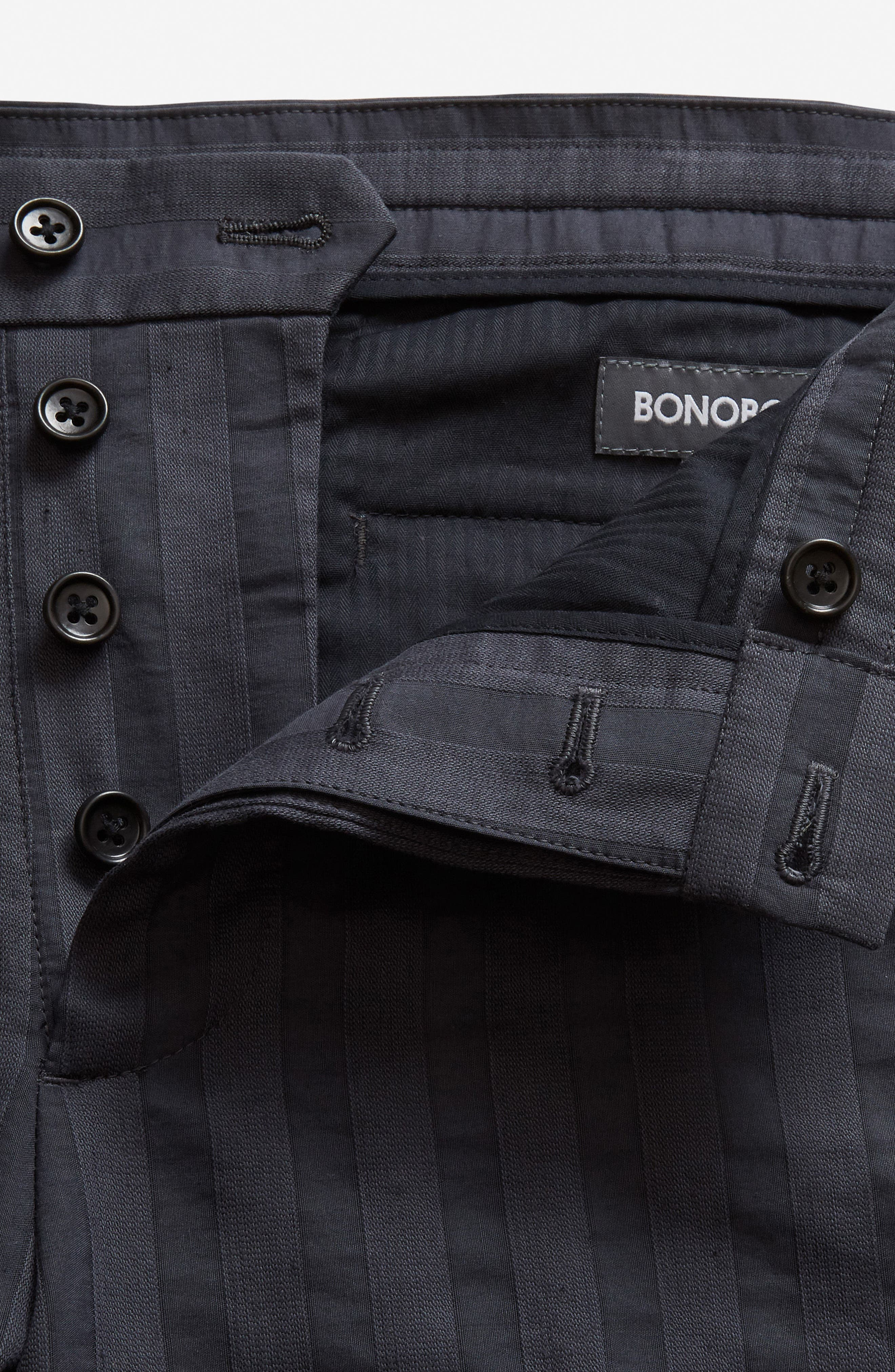 Flat Front Cotton & Linen Blend Trousers,                             Alternate thumbnail 3, color,                             Stripe Shirtmake