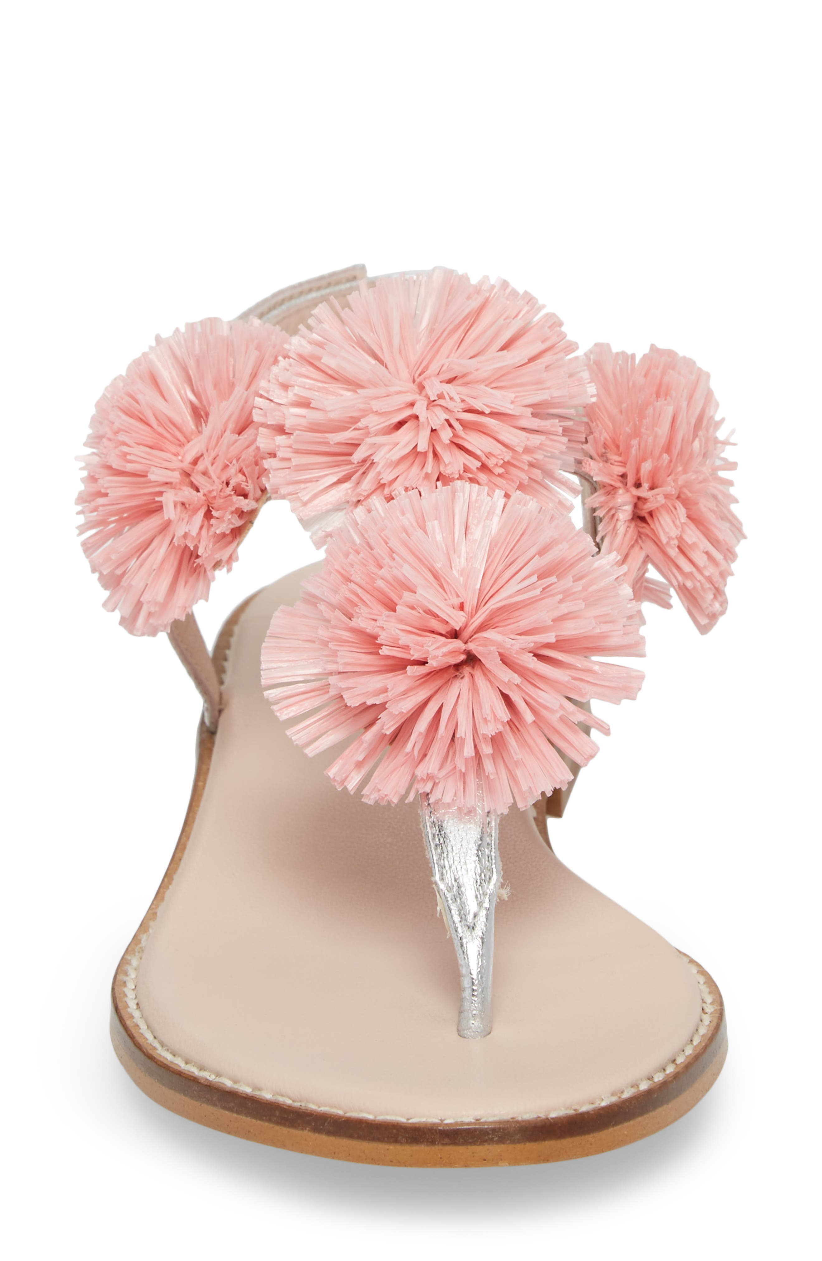 Pompom Thong Sandal,                             Alternate thumbnail 4, color,                             Pink Leather