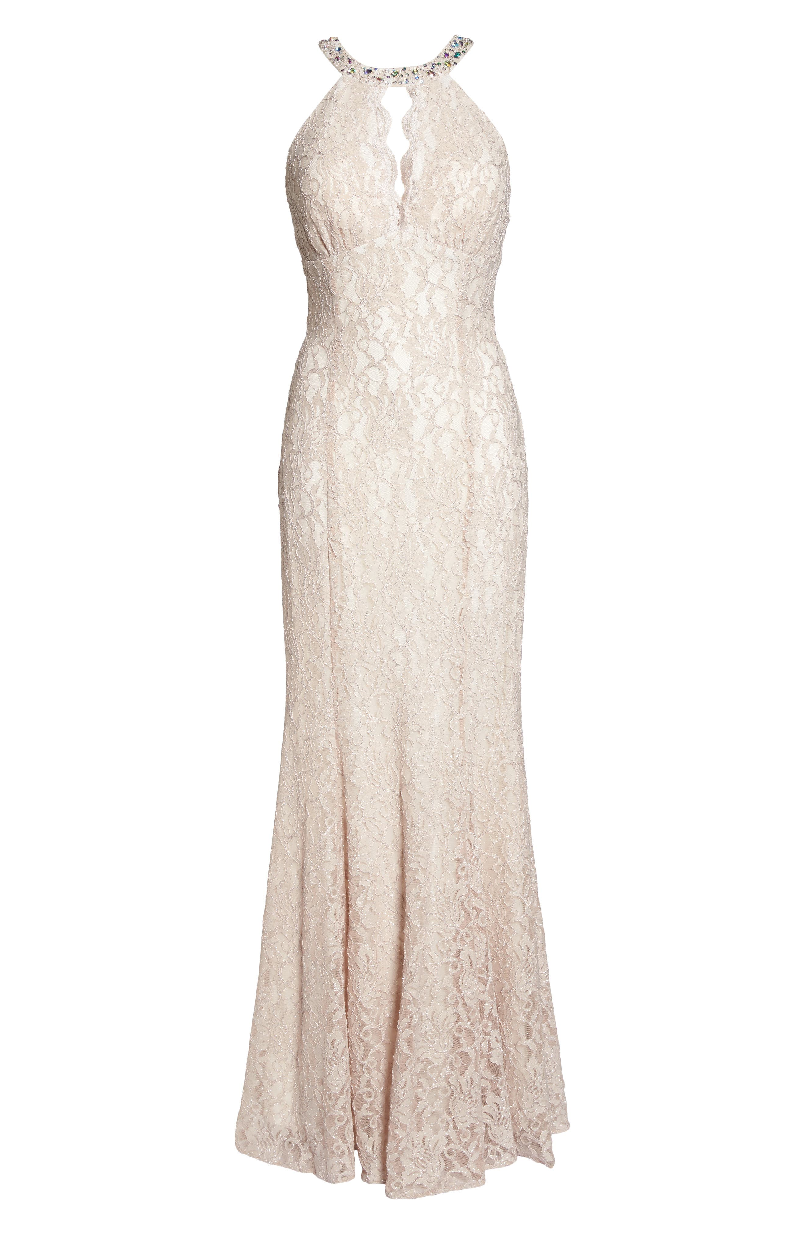 Embellished Lace Gown,                             Alternate thumbnail 6, color,                             Champagne / Ivory