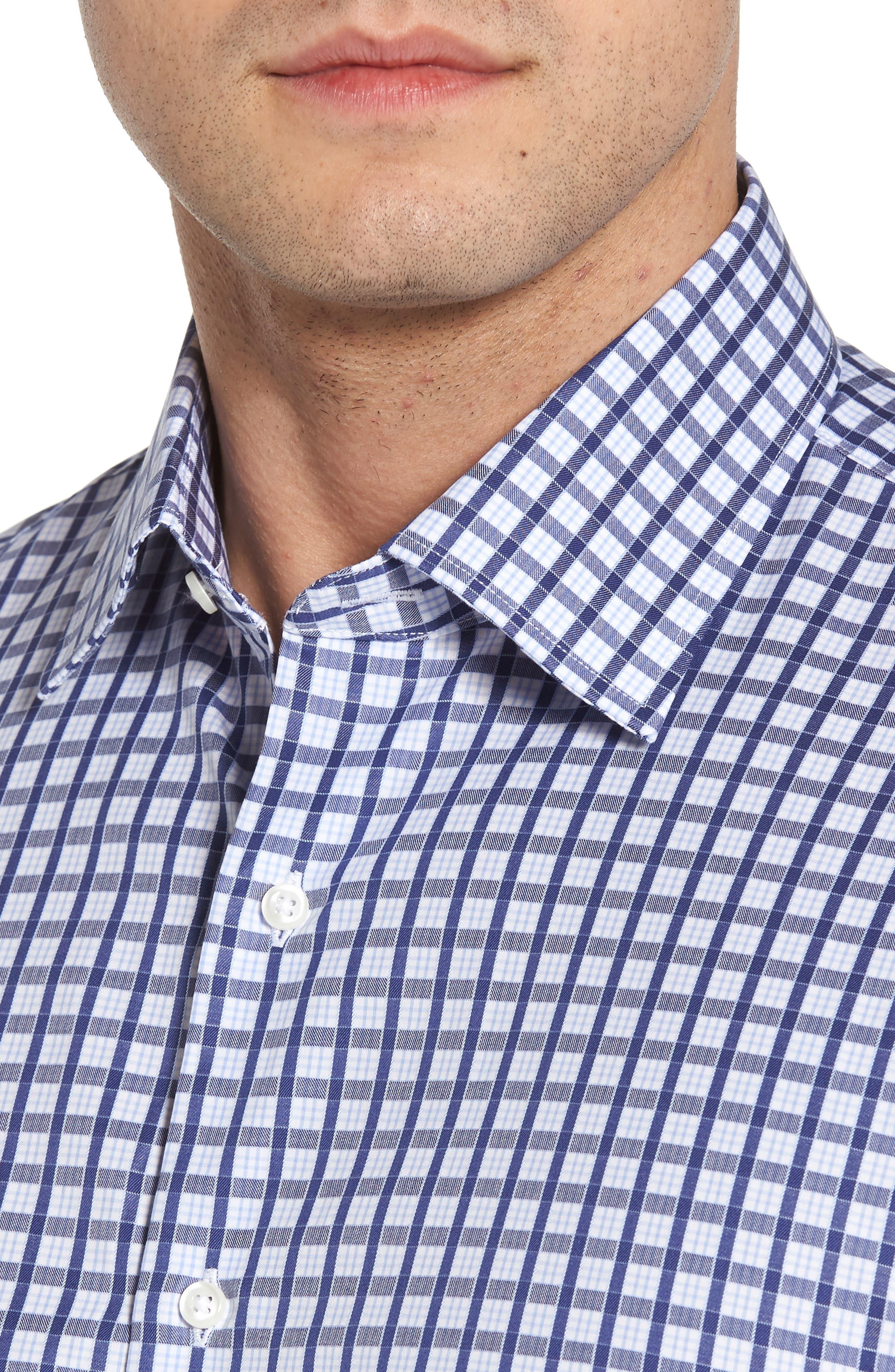 Traditional Fit Check Dress Shirt,                             Alternate thumbnail 2, color,                             Navy Ribbon