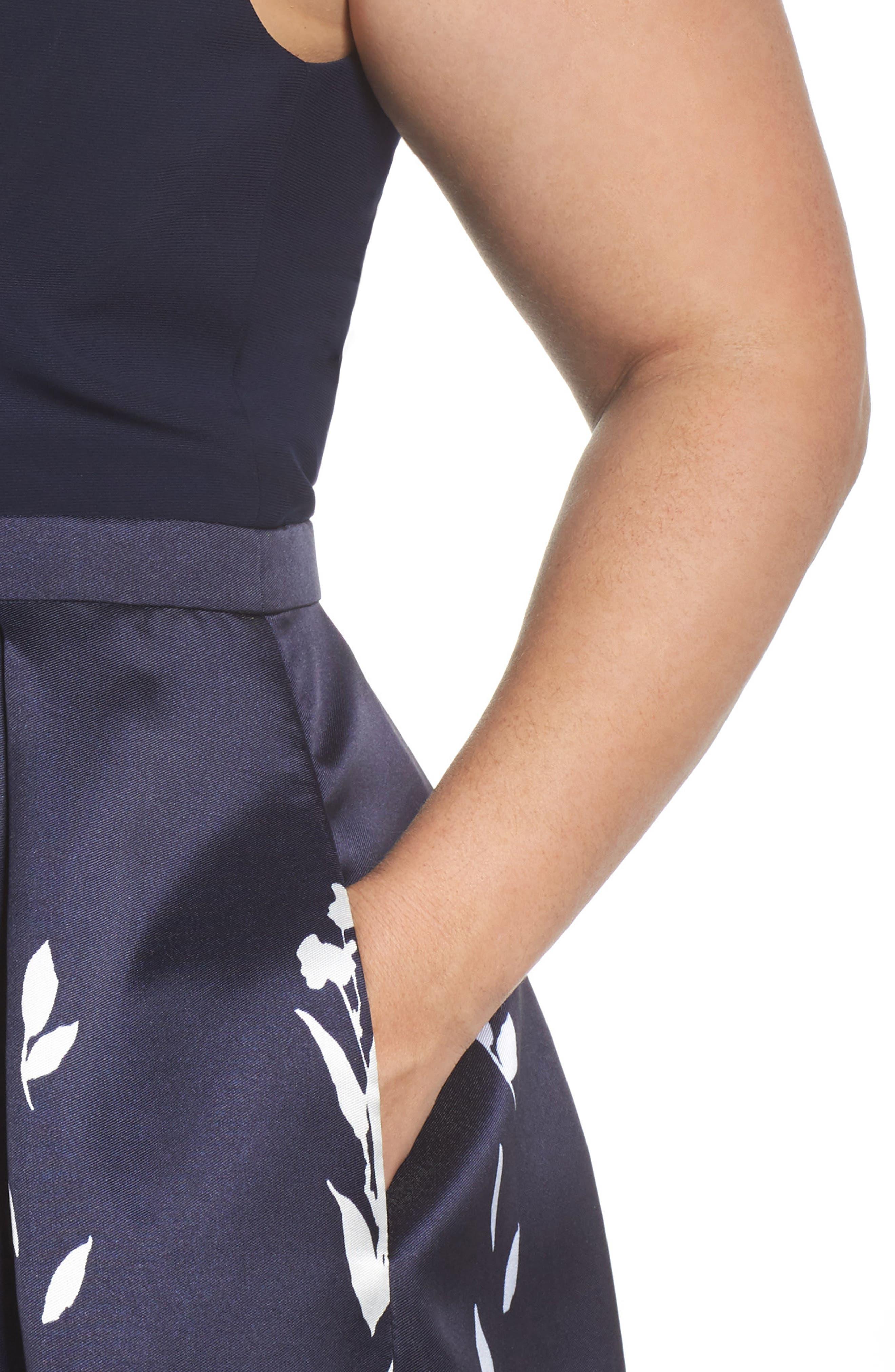Mikado Illusion V Neck Gown,                             Alternate thumbnail 4, color,                             Navy/ White