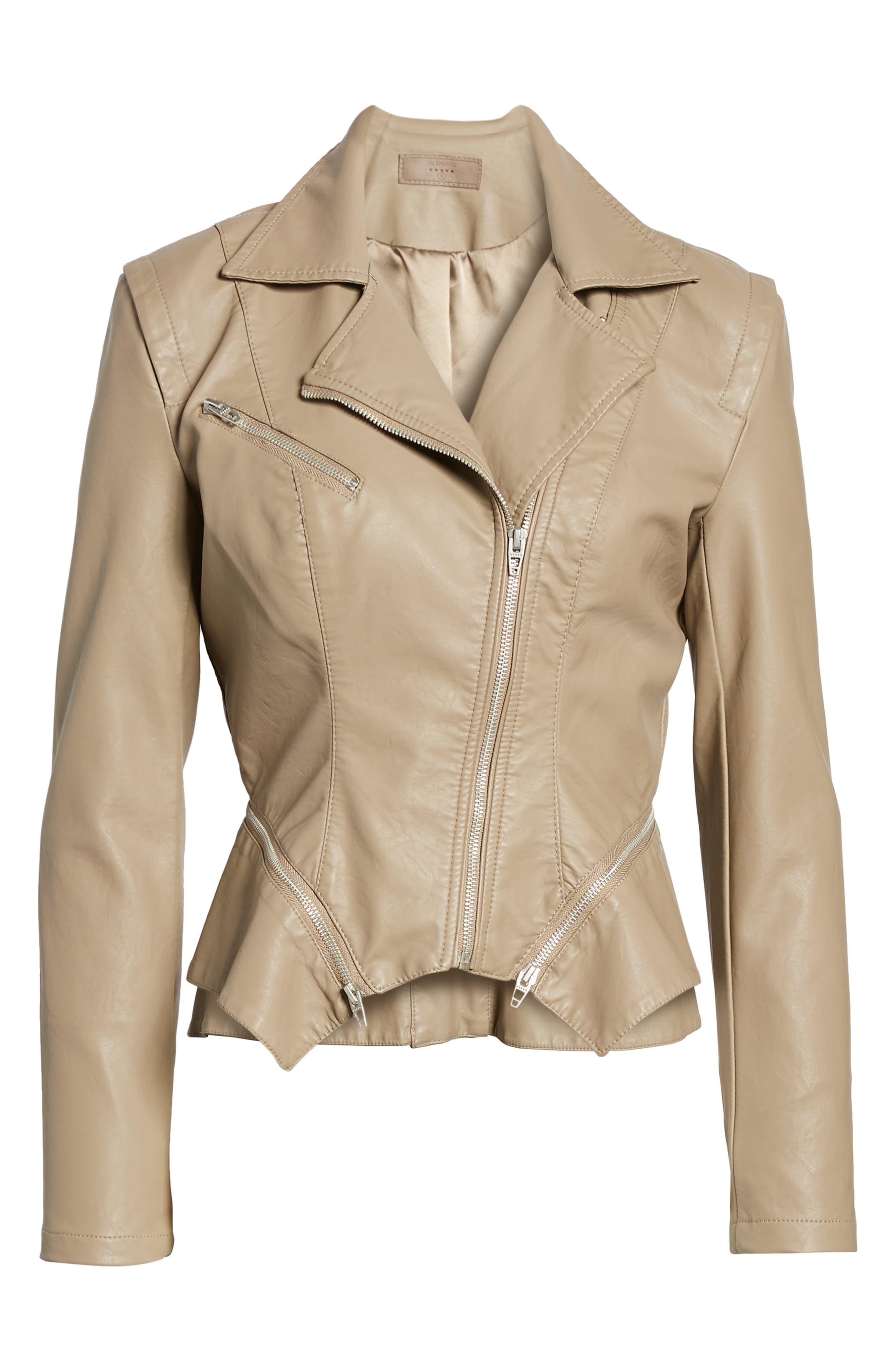 Faux Leather Moto Jacket,                             Alternate thumbnail 7, color,                             Sand Stoner