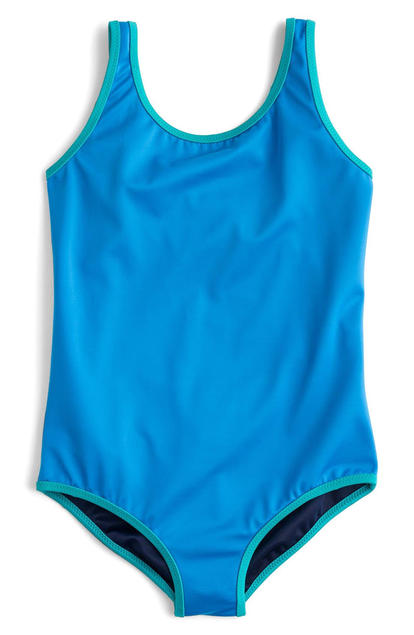 Reversible One-Piece Swimsuit,                         Main,                         color, Peri Marine