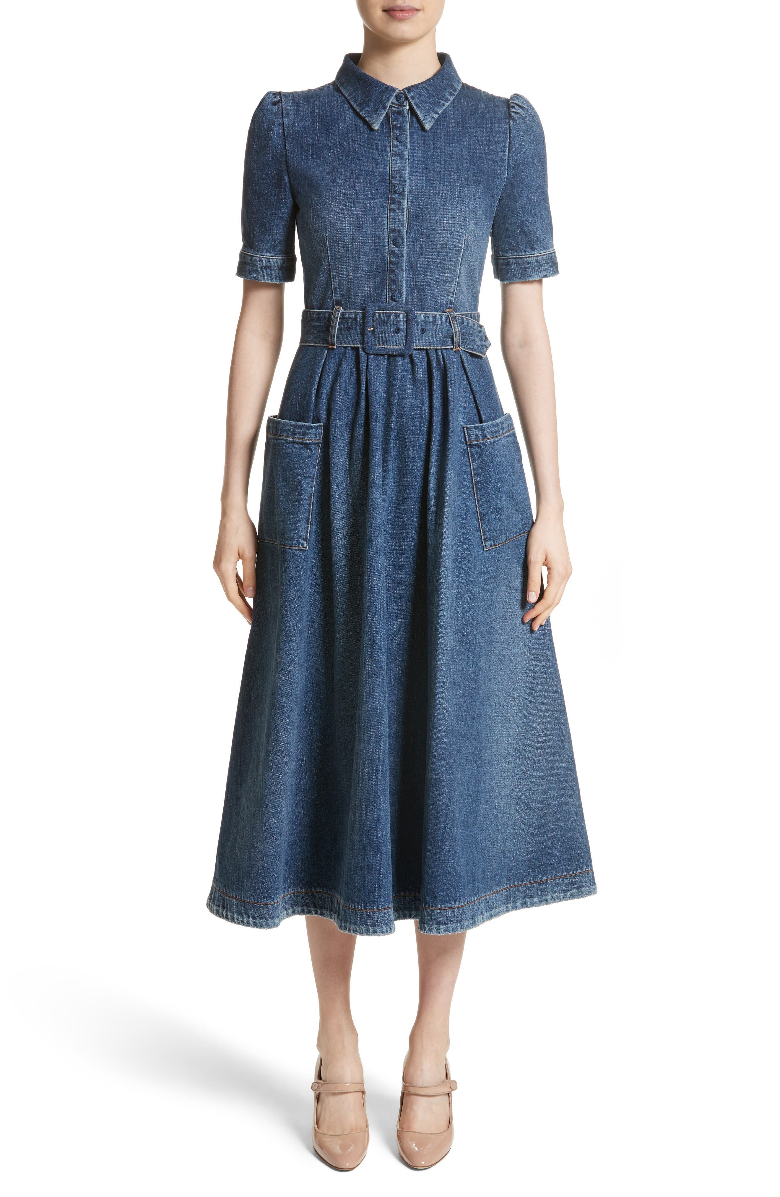 Denim Fit & Flare Midi Dress,                             Main thumbnail 1, color,                             Indigo