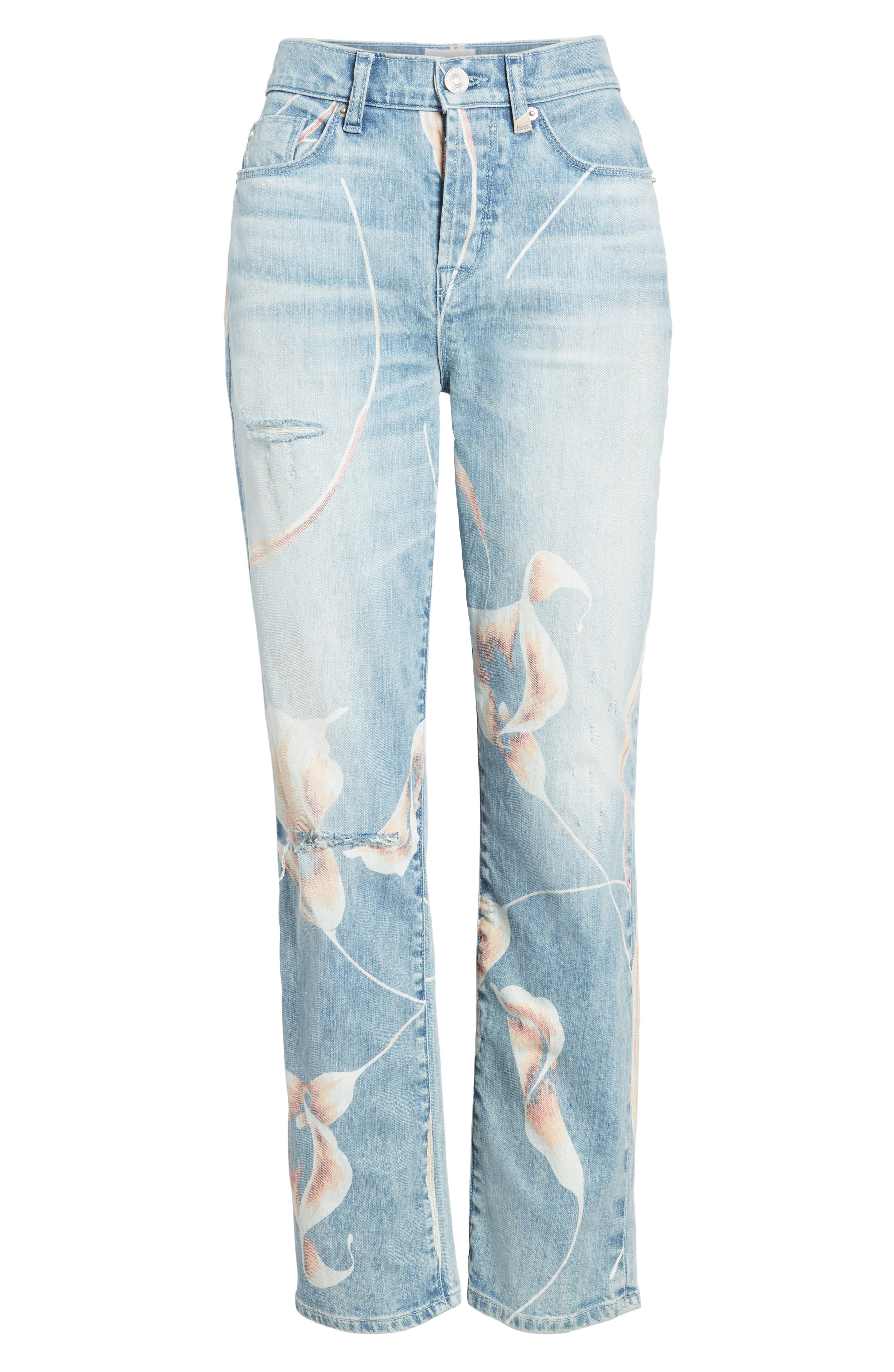 Zoeey High Waist Ankle Straight Leg Jeans,                             Alternate thumbnail 7, color,                             In Bloom
