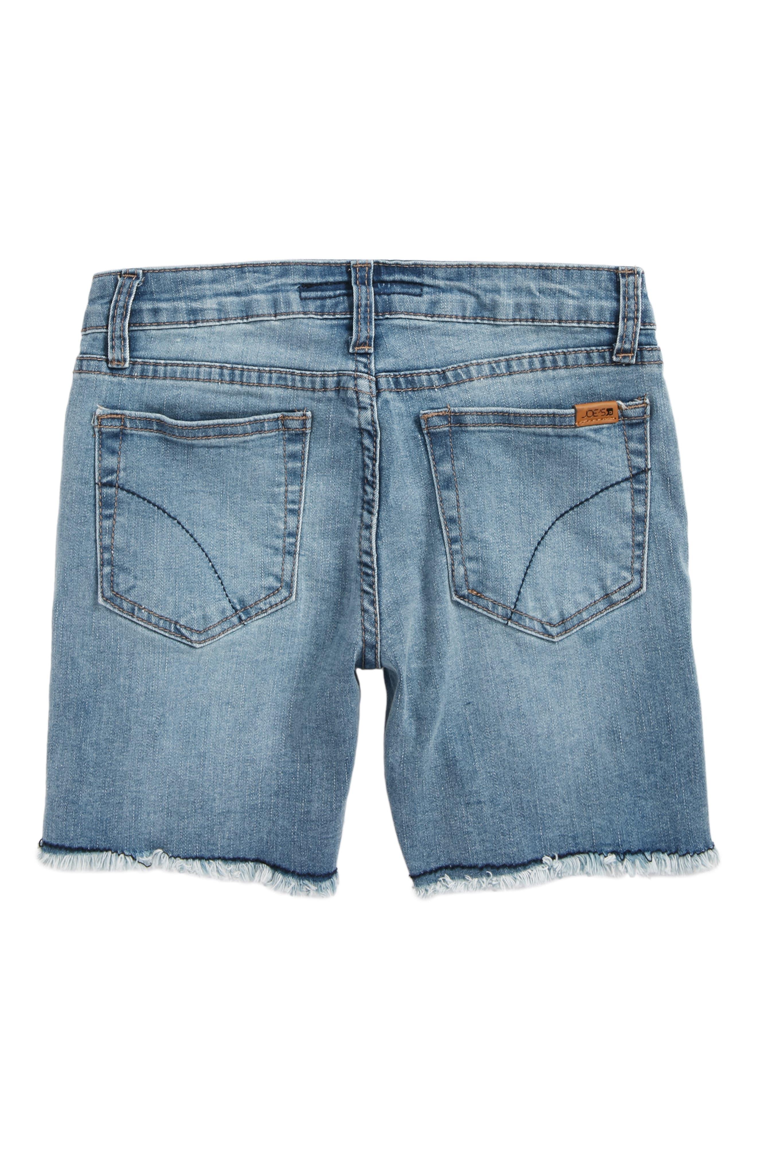 Frayed Mid Rise Bermuda Denim Shorts,                             Alternate thumbnail 2, color,                             Mdw-Medium Wash
