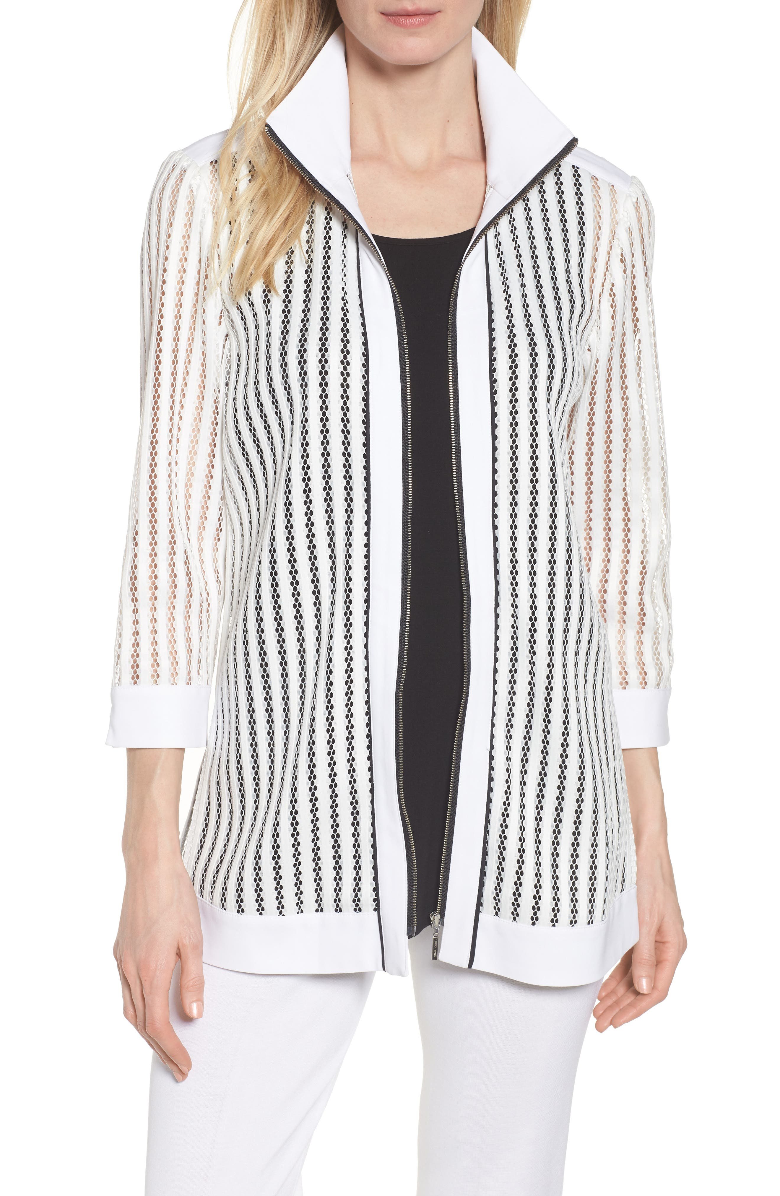 Ming Mang Open Stitch Sweater Jacket,                         Main,                         color, White/ Black