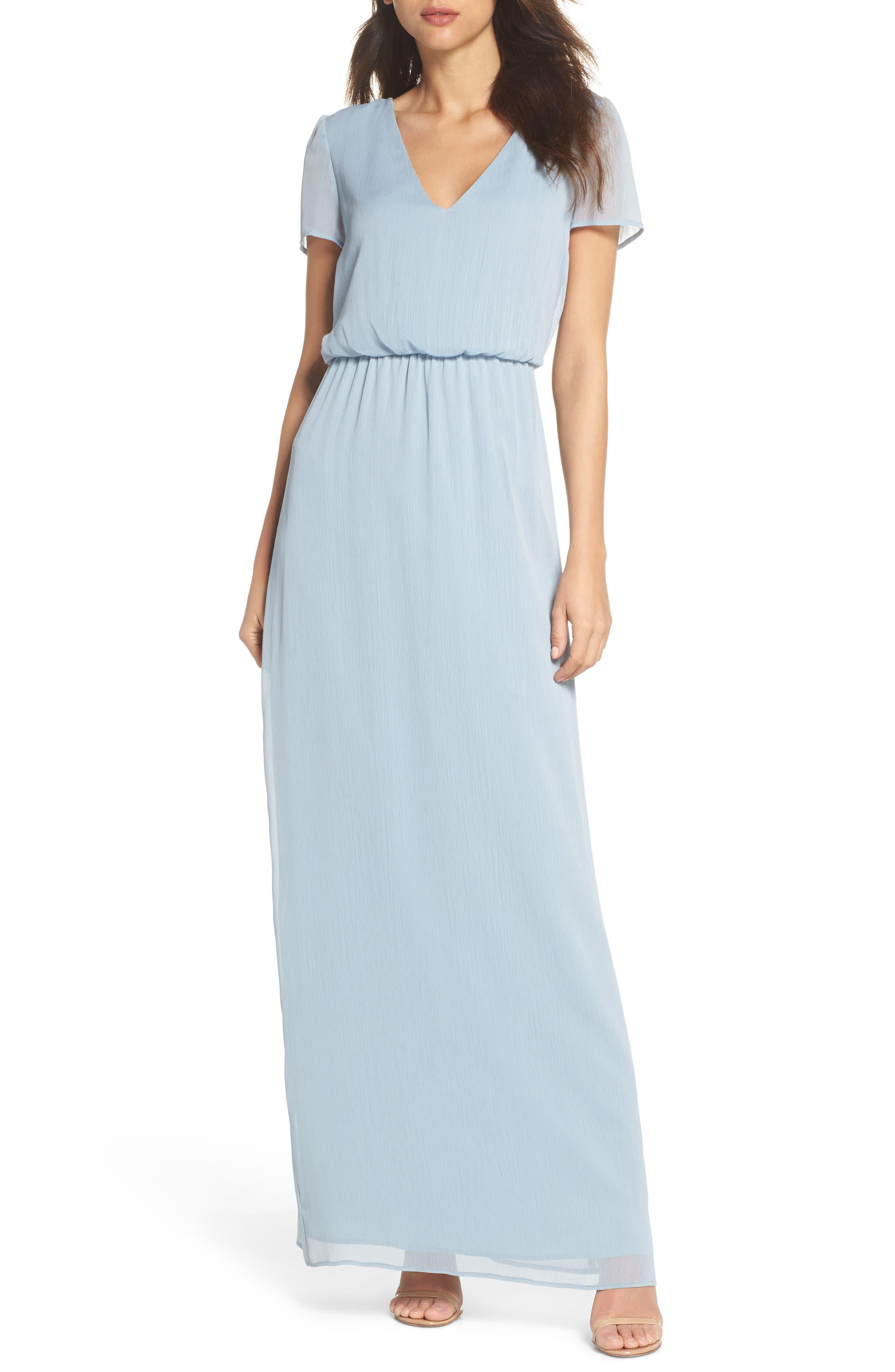 Anna Tie Back Gown,                         Main,                         color, Blue Cloud