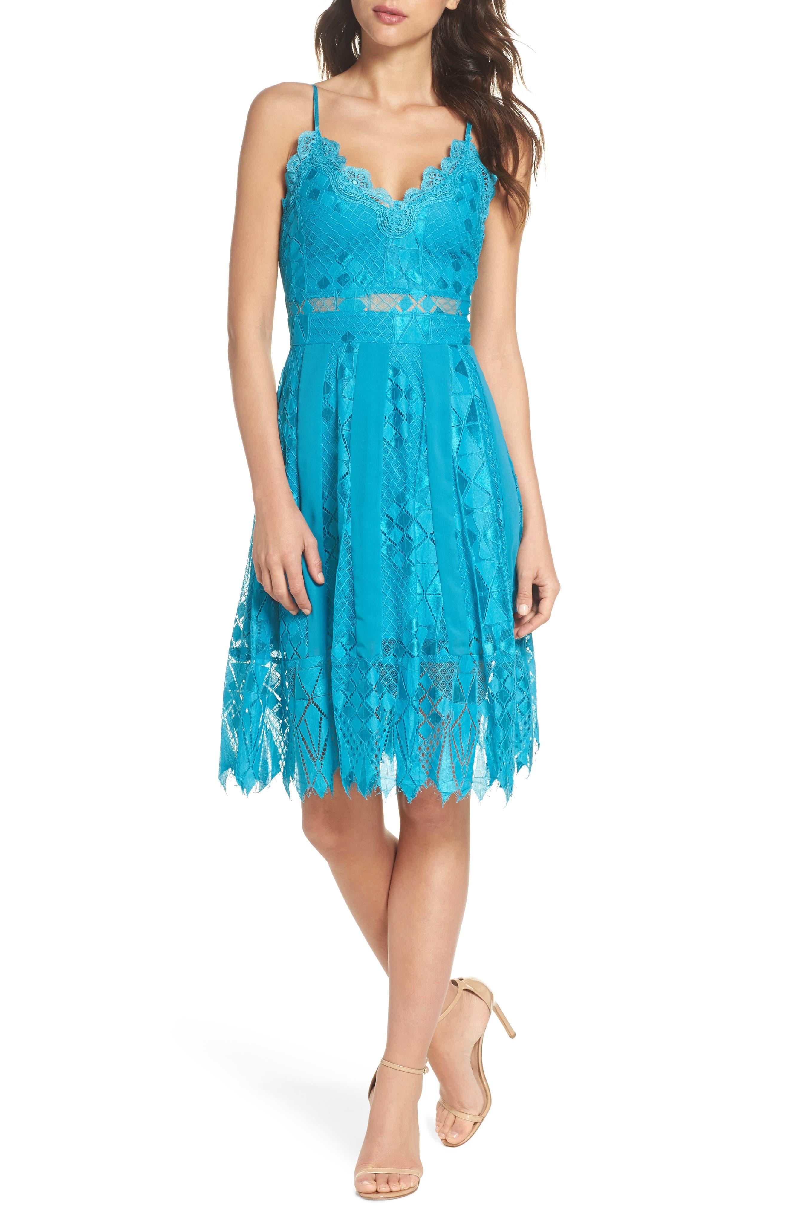 Calla Geometric Lace Dress,                             Main thumbnail 1, color,                             Light Blue
