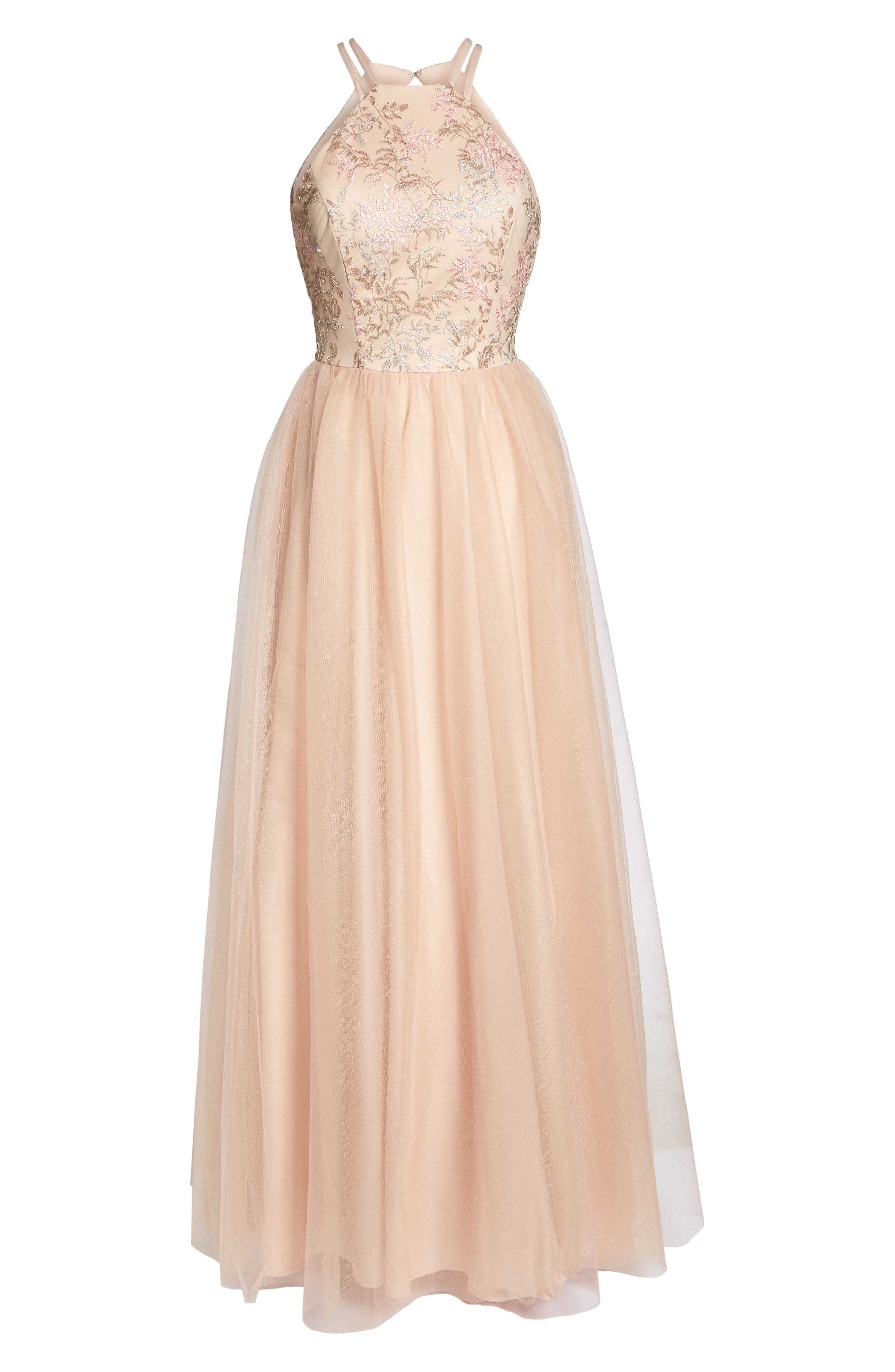 Embroidered Bodice Fit & Flare Gown,                             Alternate thumbnail 6, color,                             Blush / Nude / Pink
