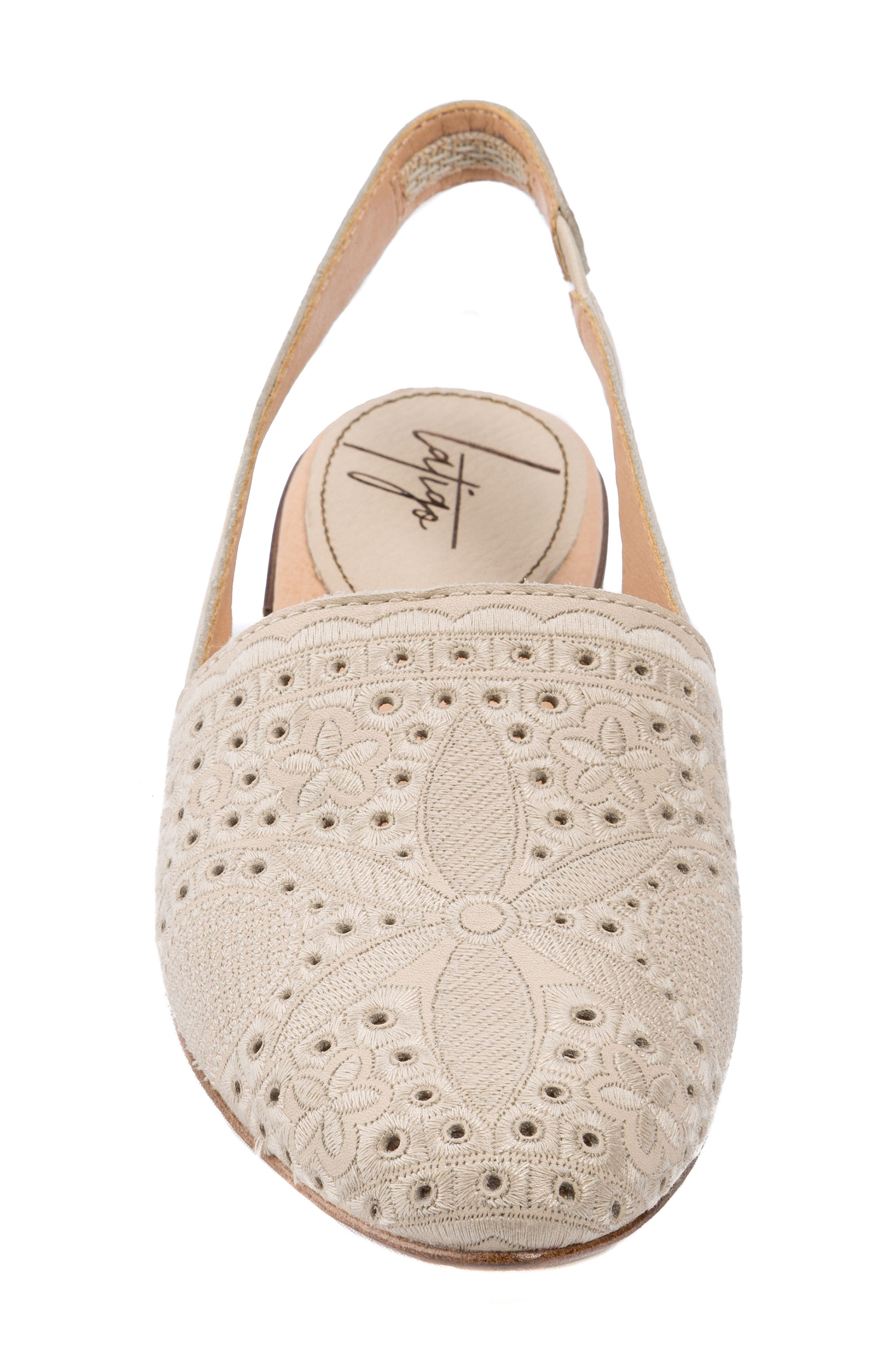 Ulu Embroidered Slingback Flat,                             Alternate thumbnail 4, color,                             Champagne