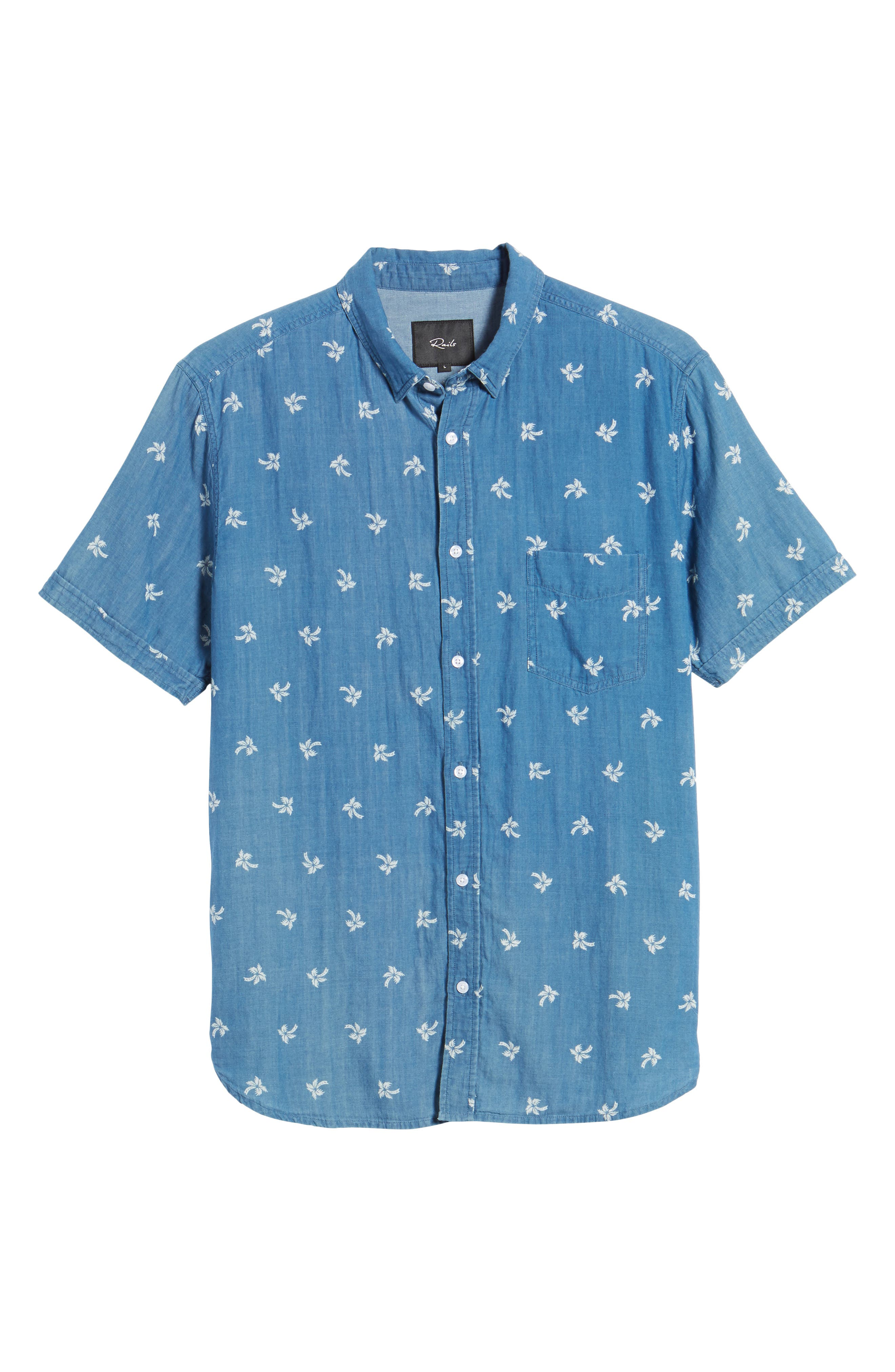 Carson Slim Fit Palm Print Sport Shirt,                             Alternate thumbnail 6, color,                             Indigo Tropic