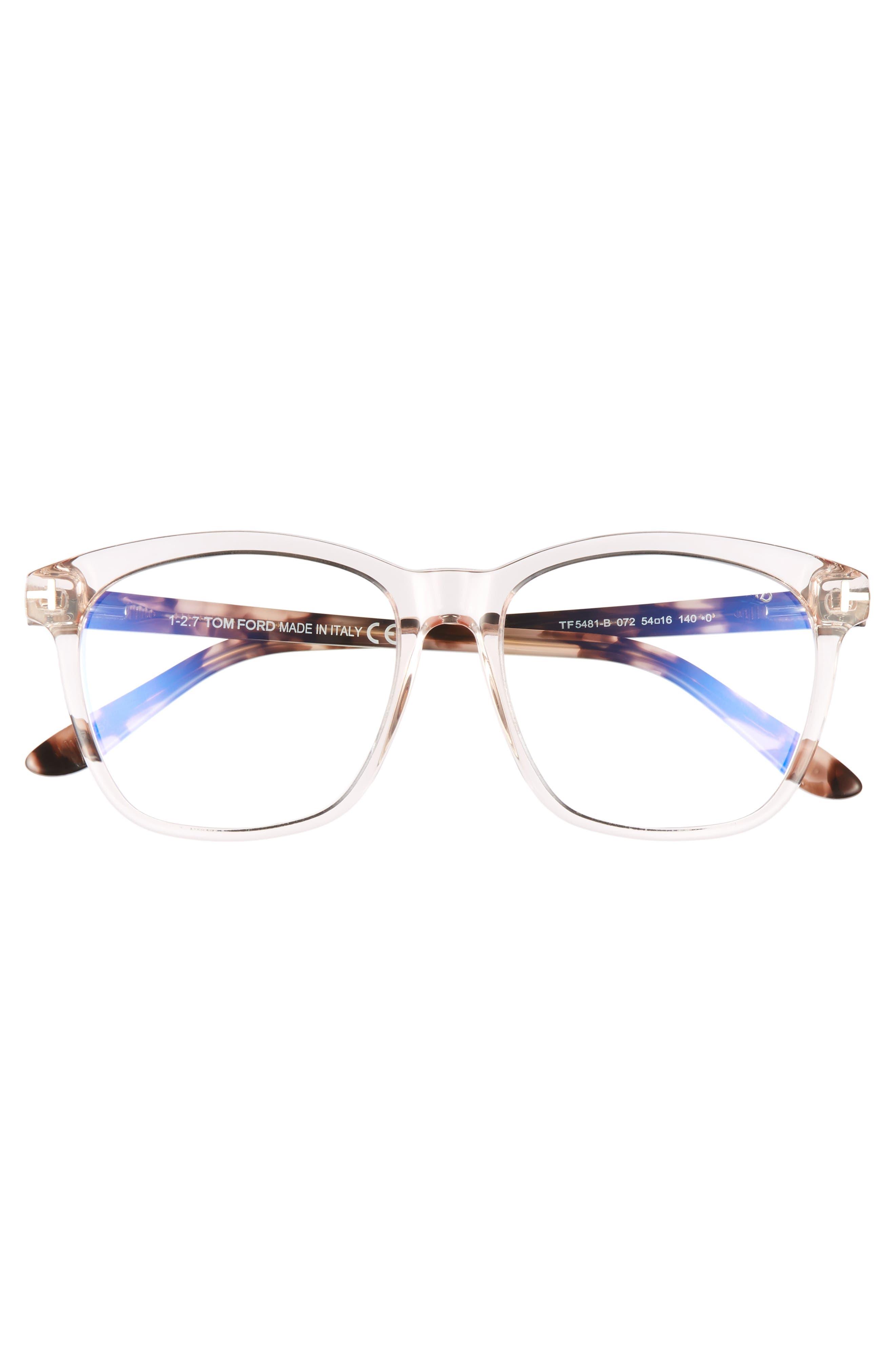 54mm Blue Block Optical Glasses,                             Alternate thumbnail 3, color,                             Shiny Pink/ Vintage Havana