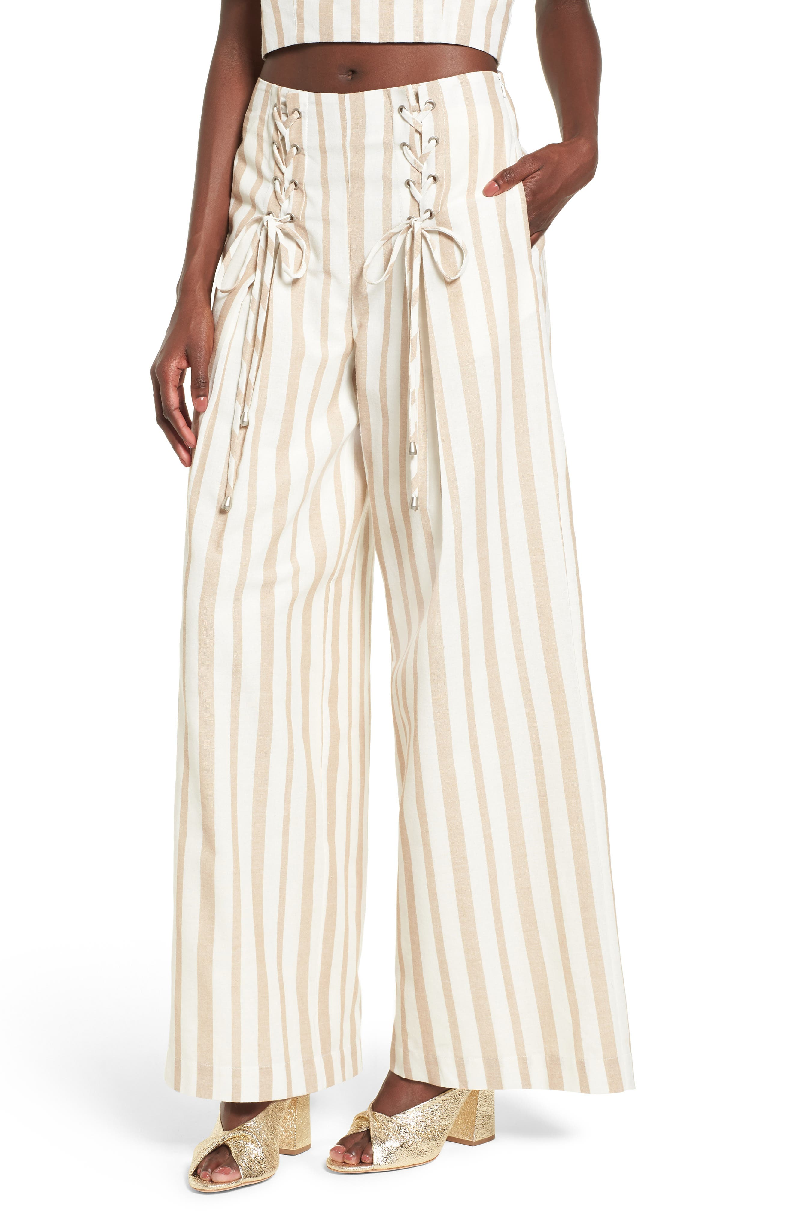 Chriselle x J.O.A. Lace-Up High Waist Wide Leg Pants,                         Main,                         color, Sand Stripe