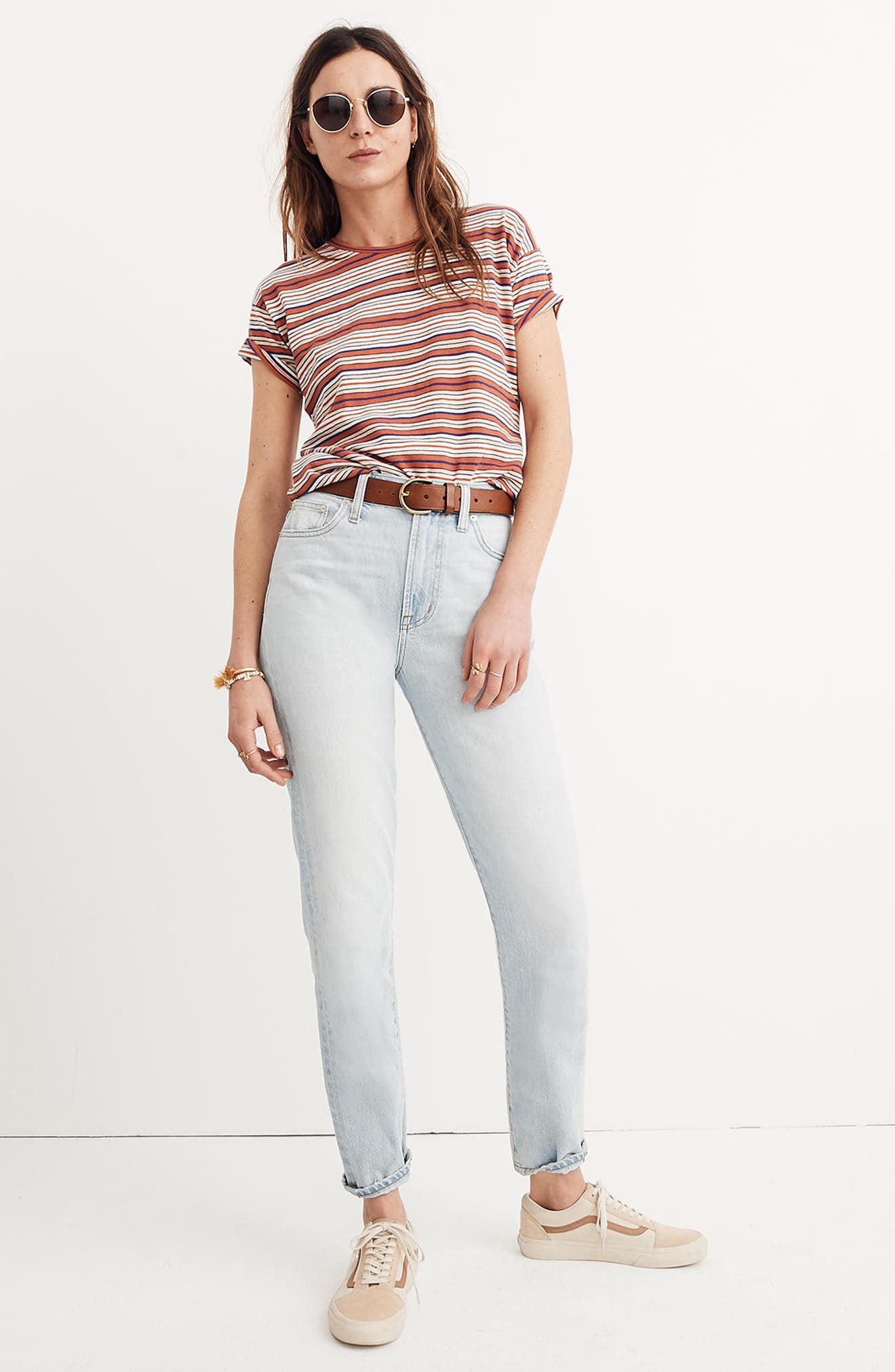 Bonnie Stripe Whisper Cotton Crewneck Tee,                             Alternate thumbnail 3, color,                             Cloud Lining
